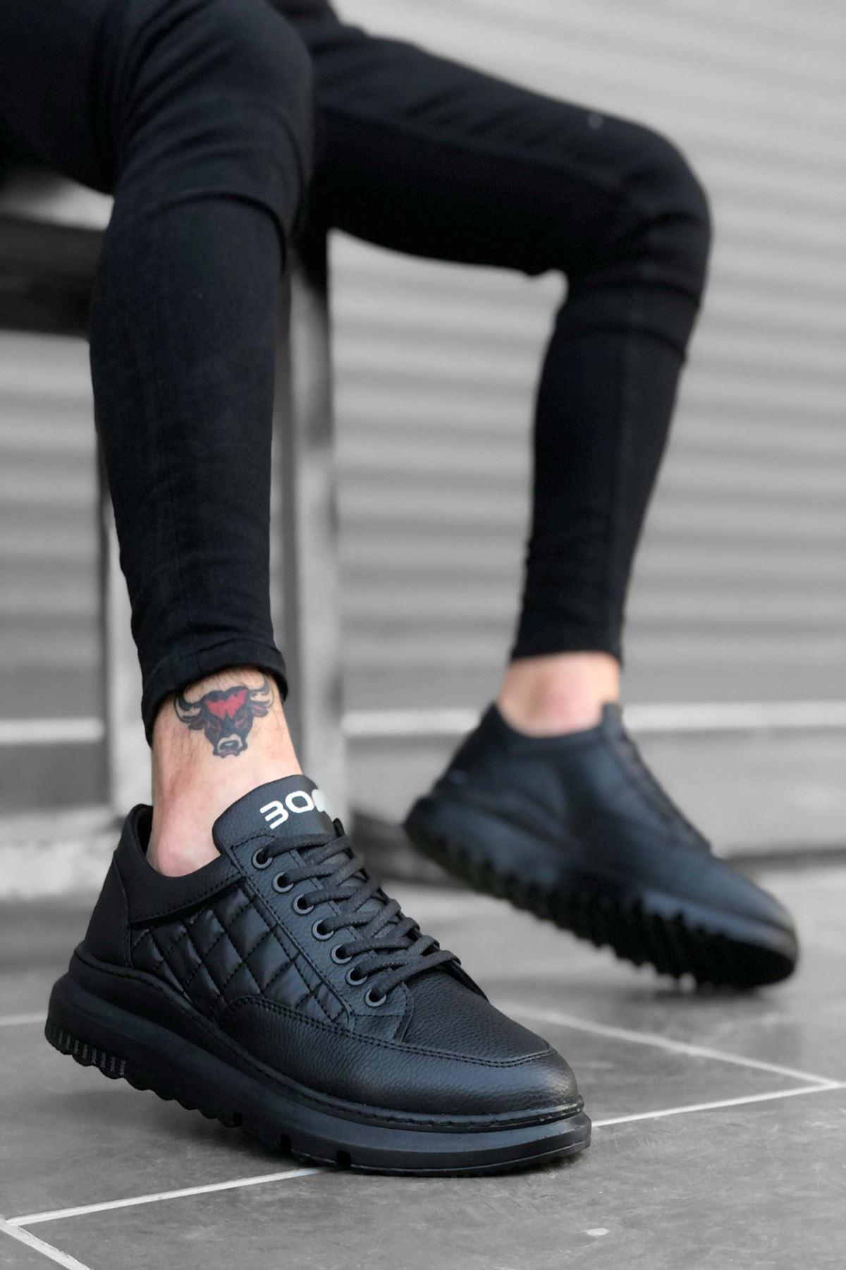 B180 Siyah ST Bağcıklı Erkek Sneakers