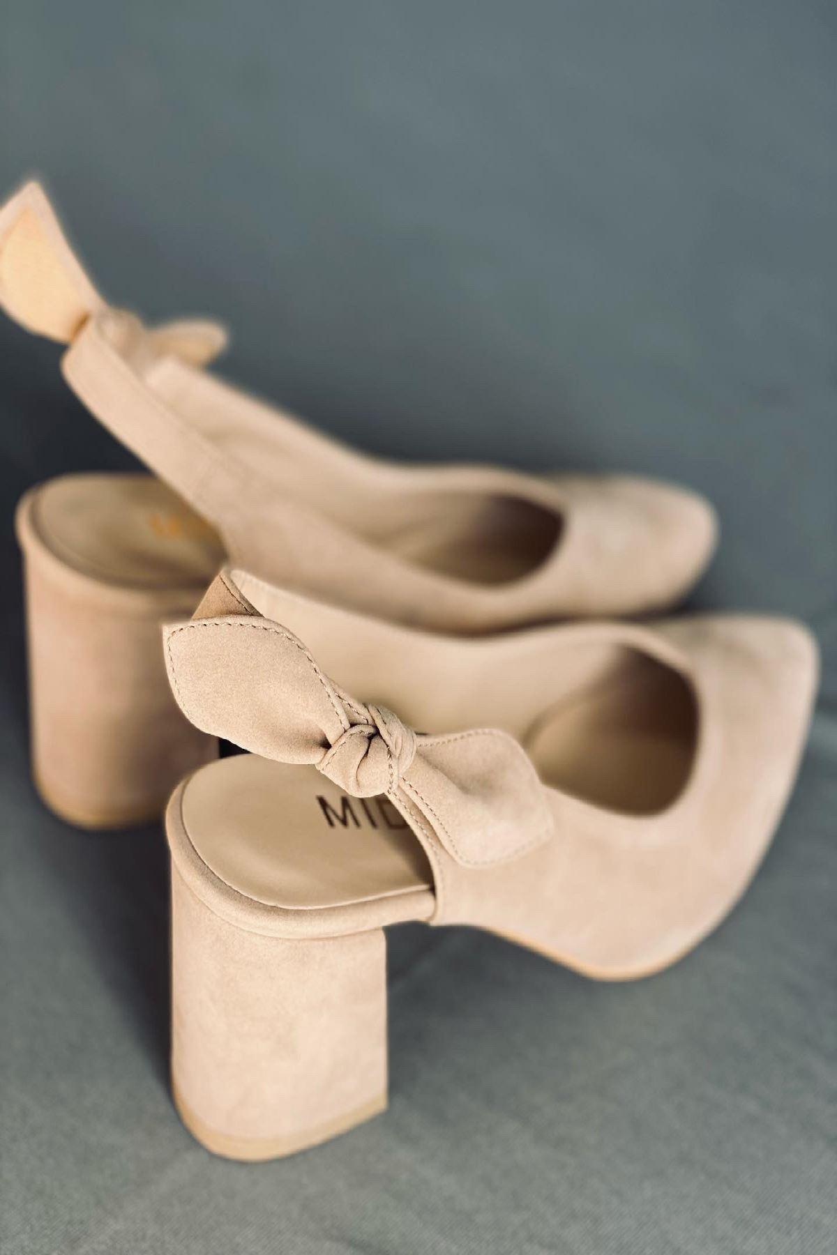 Y109 Ten Süet Topuklu Ayakkabı