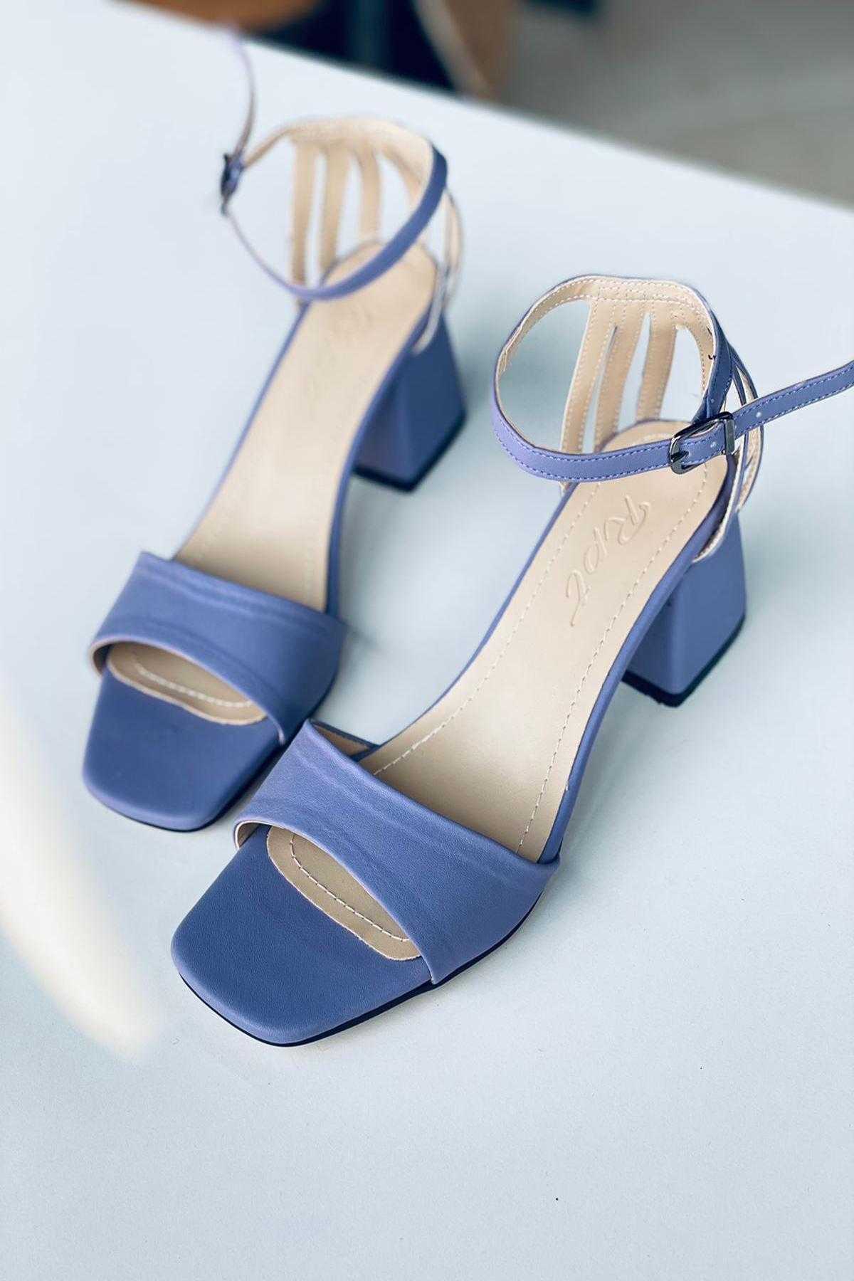 Y901 Mor Deri Topuklu Ayakkabı