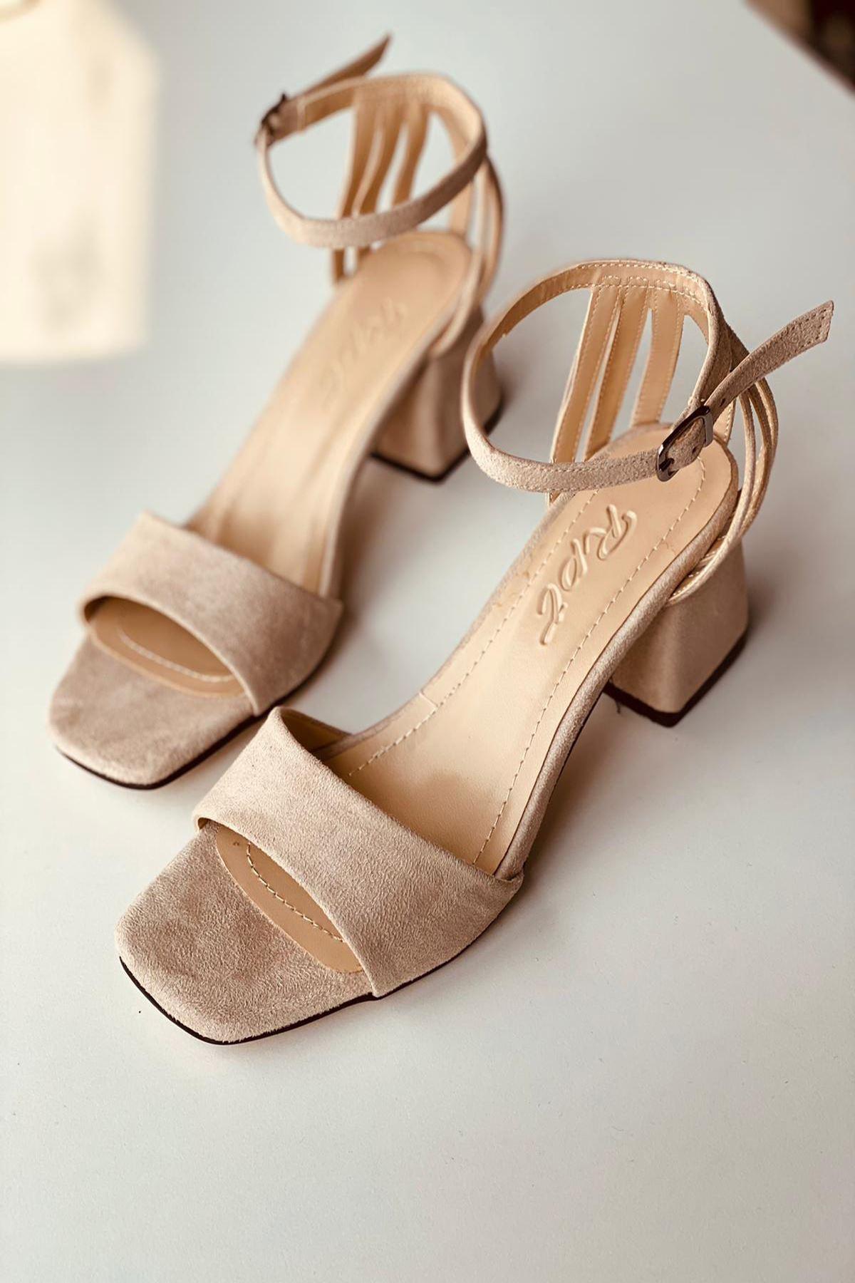 Y901 Pudra Süet Topuklu Ayakkabı