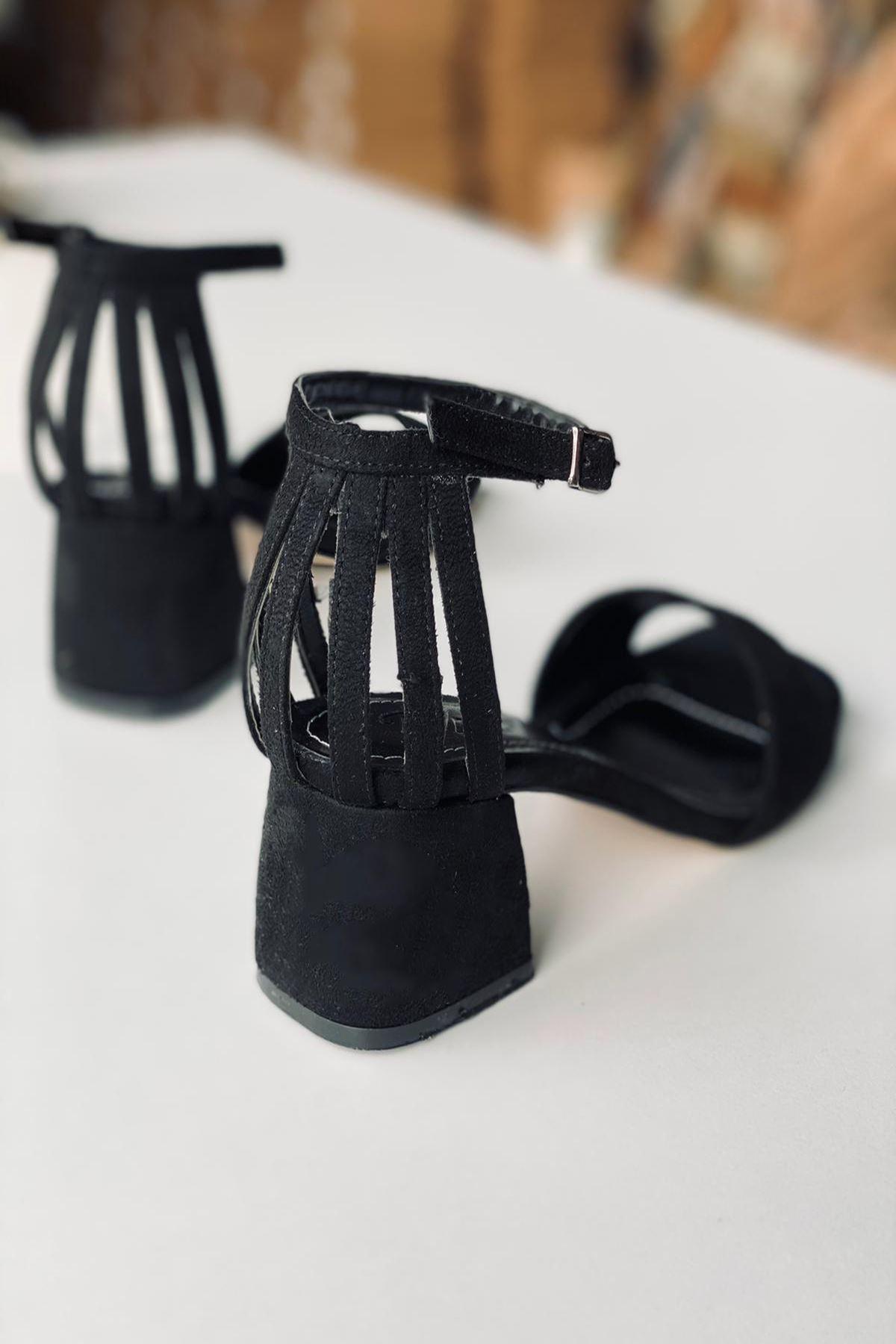Y901 Siyah Süet Topuklu Ayakkabı