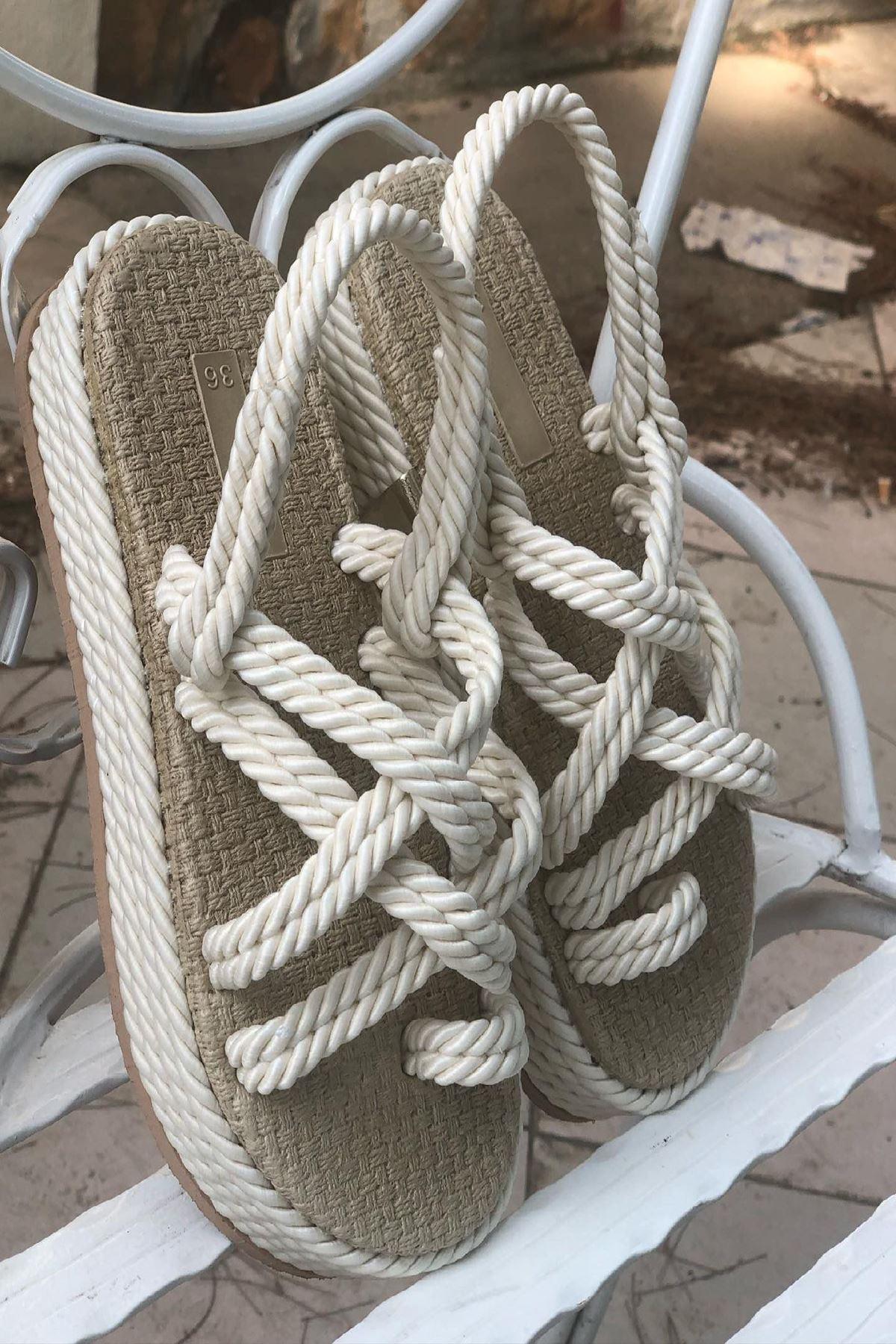 YKHS01 Krem Halat Sandalet