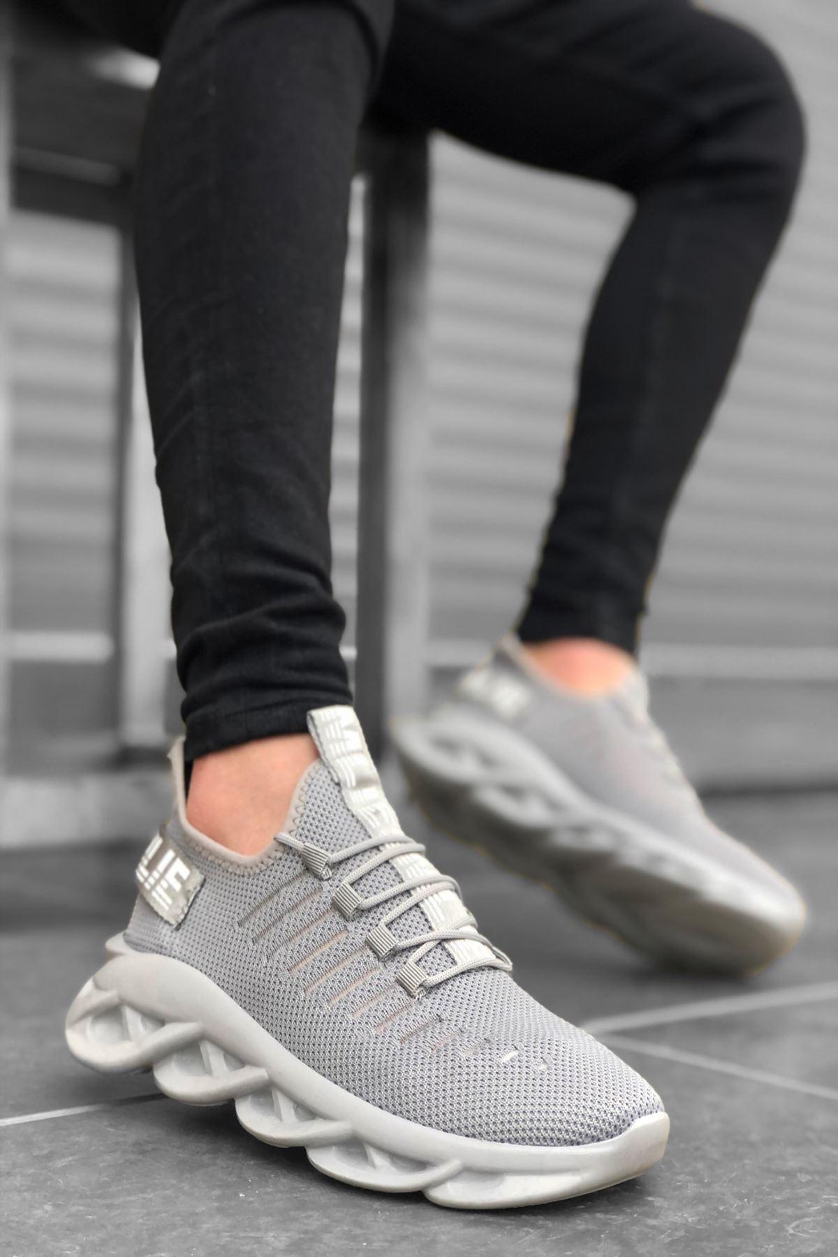 B602 Gri Bağcıklı Erkek Sneakers