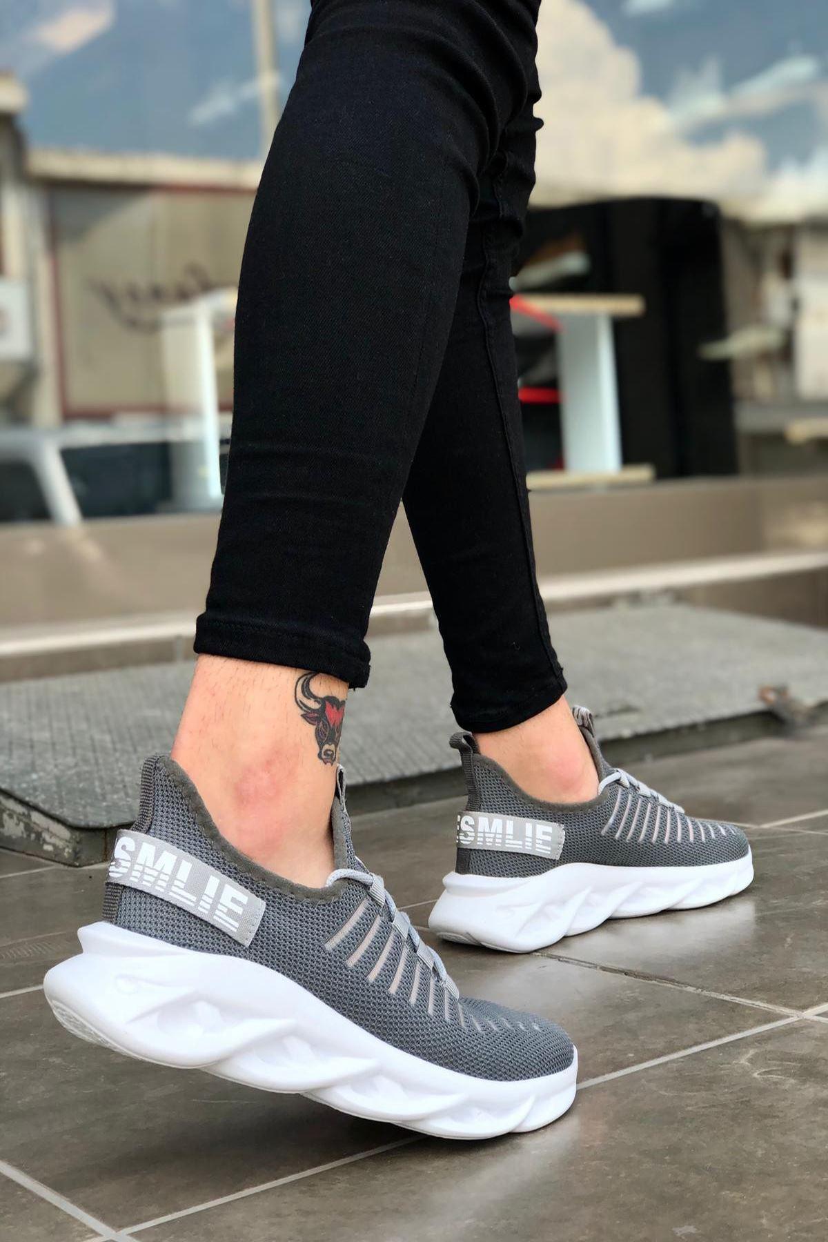 B602 Gri BT Bağcıklı Erkek Sneakers