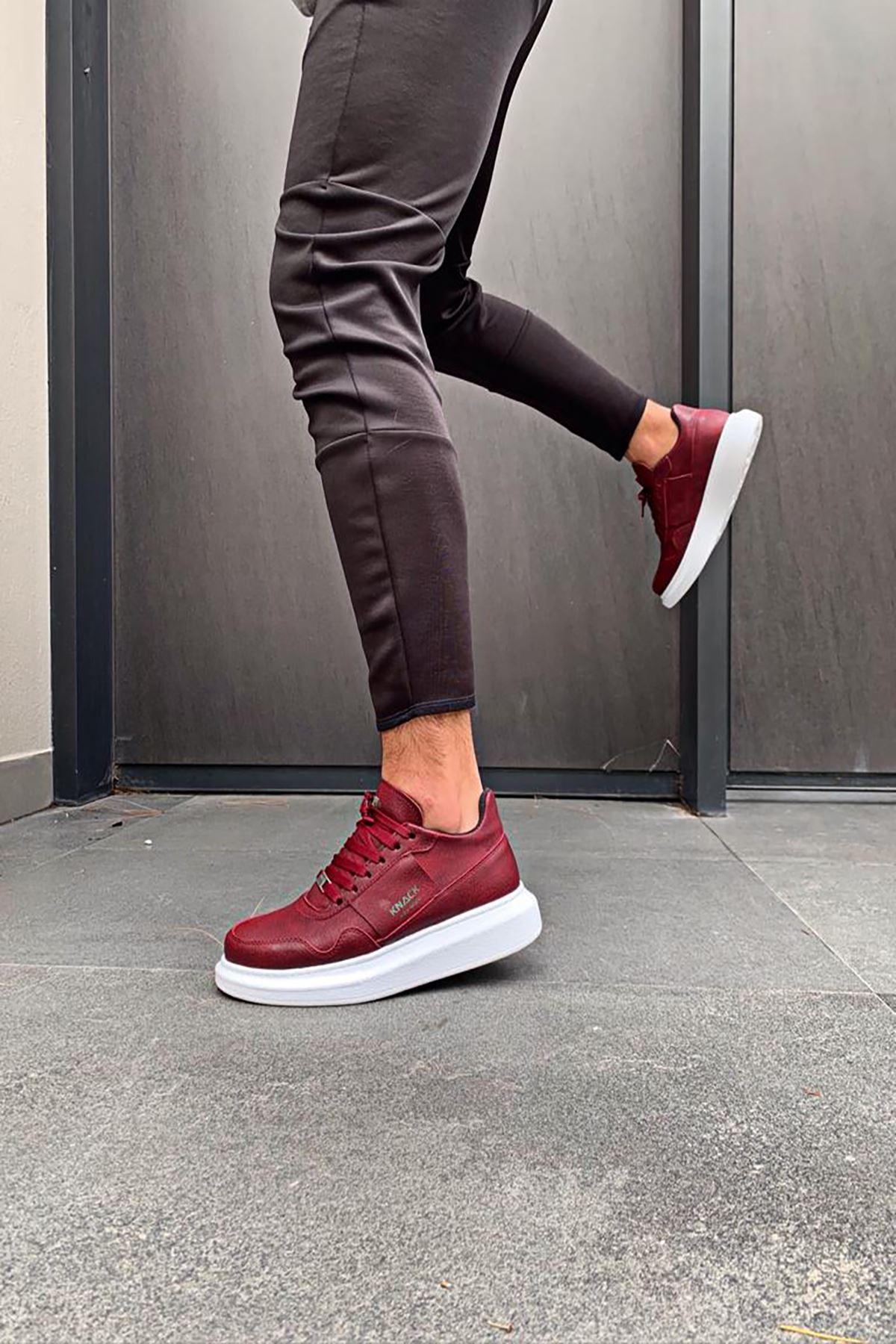 KNK040 Bordo BT Deri Spor Sneaker
