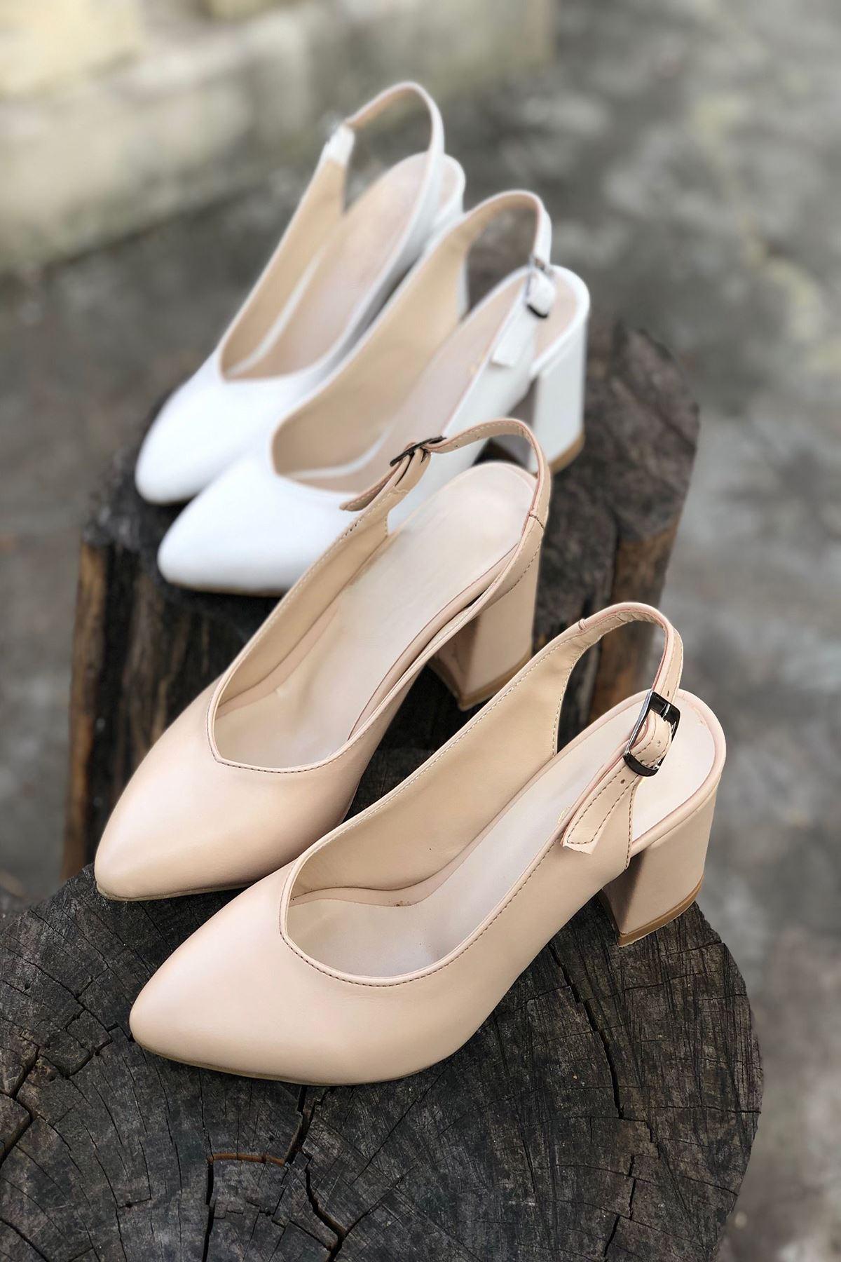 Y101 Ten Deri Topuklu Ayakkabı