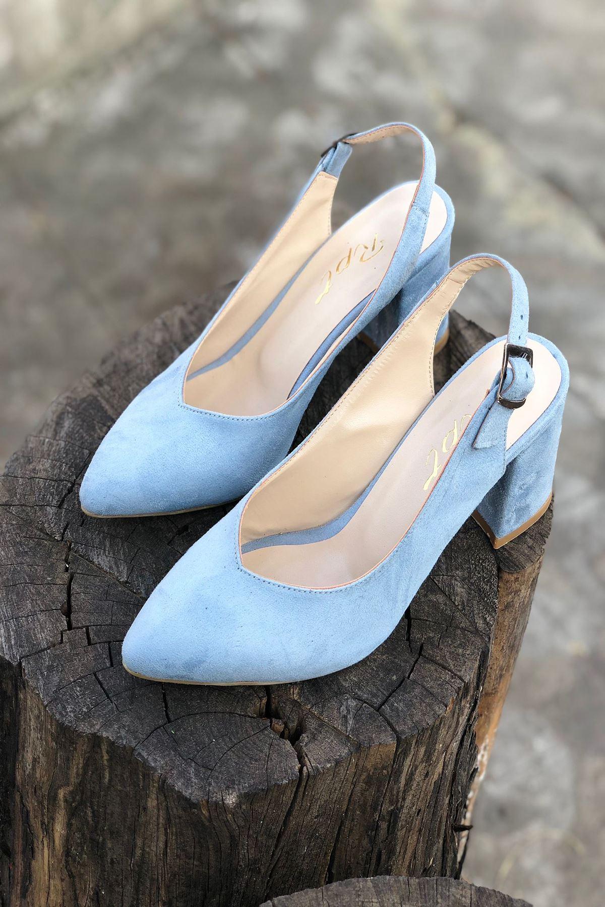 Y101 Bebe Mavi Süet Topuklu Ayakkabı
