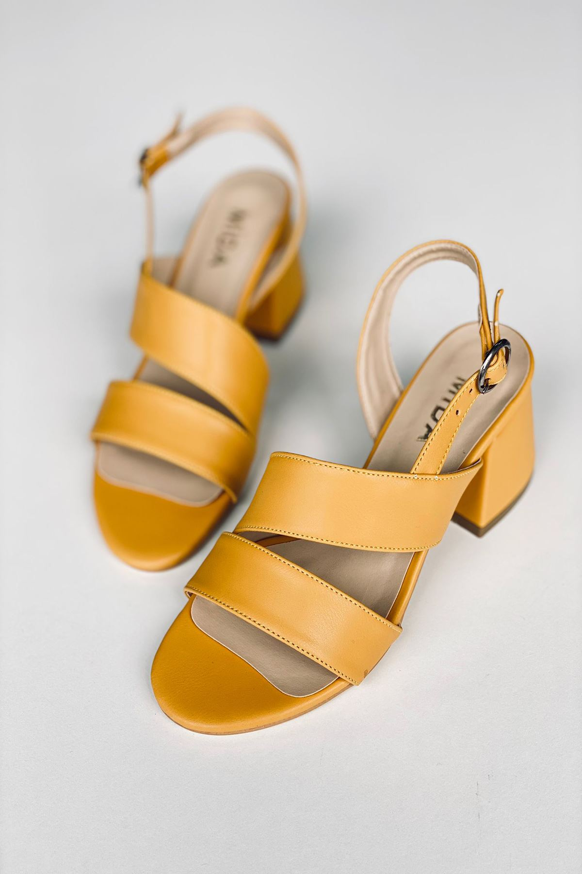Y502 Hardal Deri Topuklu Ayakkabı