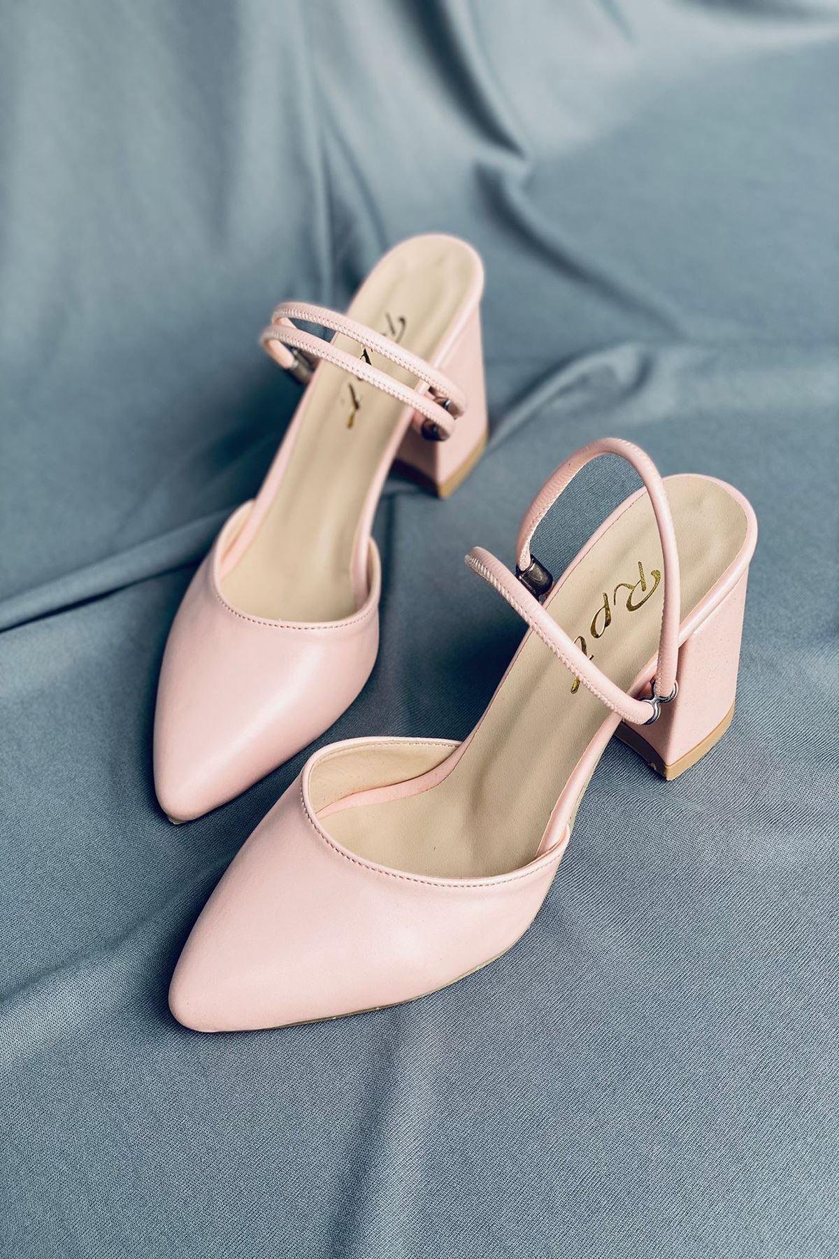 Y119 Pudra Deri Topuklu Ayakkabı