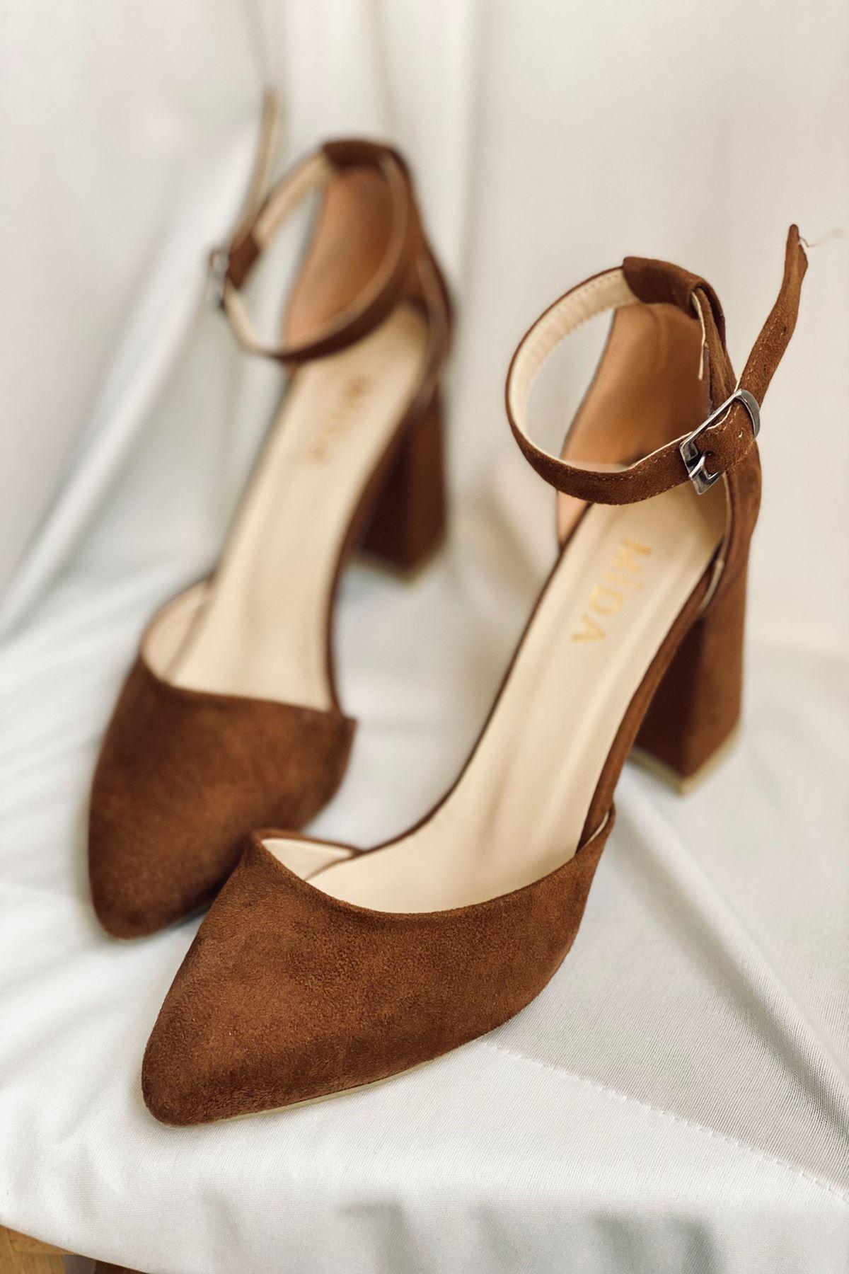 Y102 Taba Süet Topuklu Ayakkabı