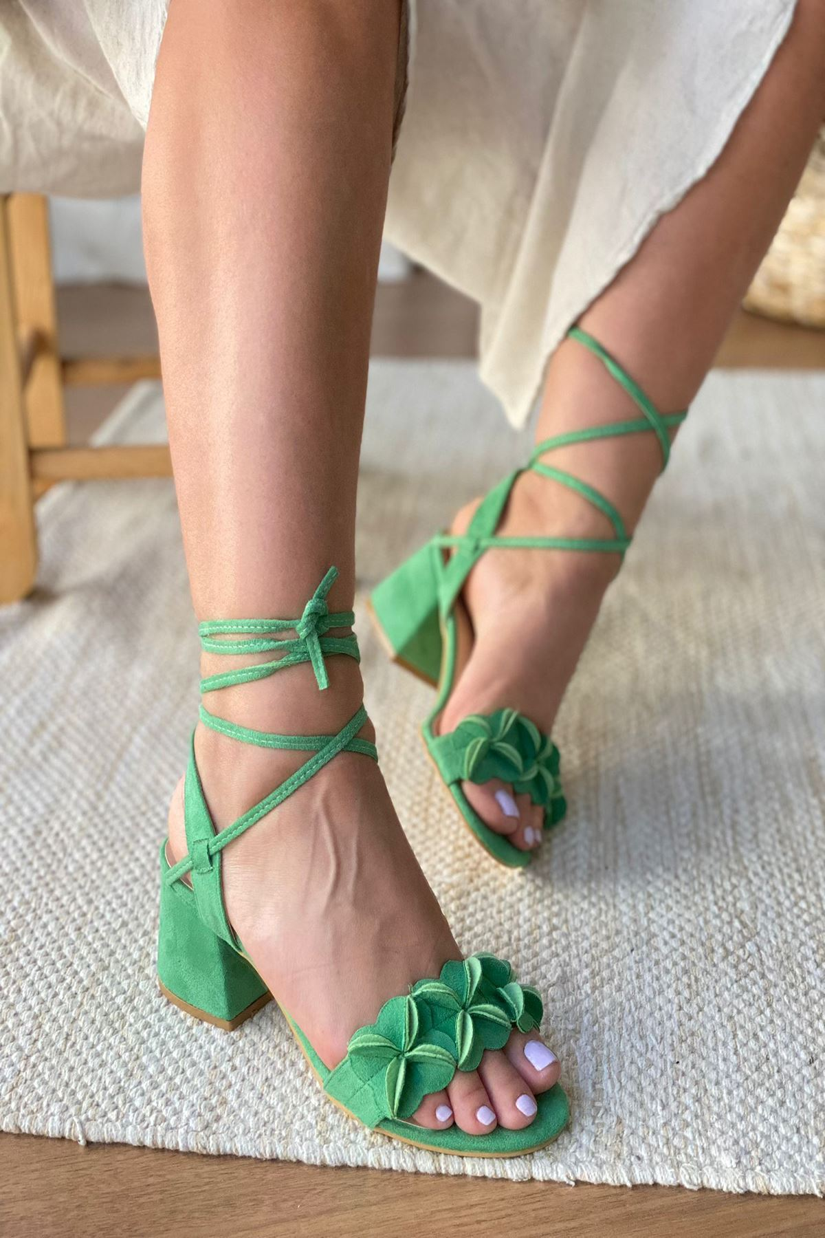 Y501 Yeşil Süet Topuklu Ayakkabı
