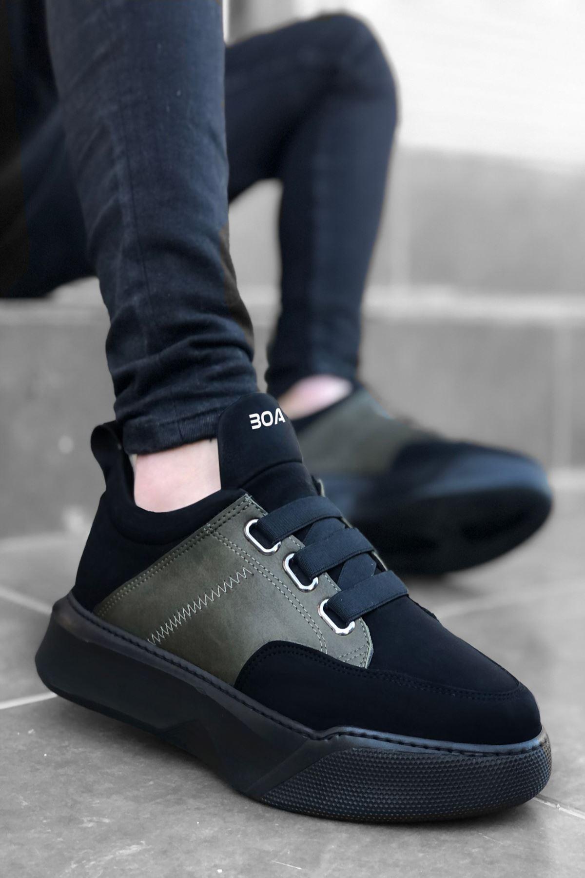 B160 Haki Siyah ST Bağcıklı Erkek Sneakers