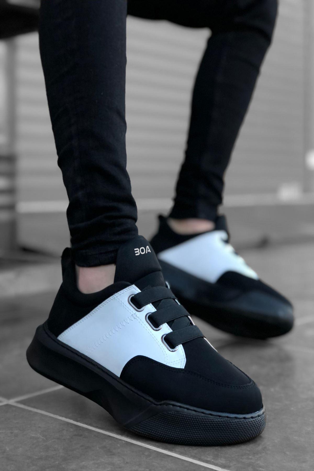 B160 Siyah Beyaz ST Bağcıklı Erkek Sneakers