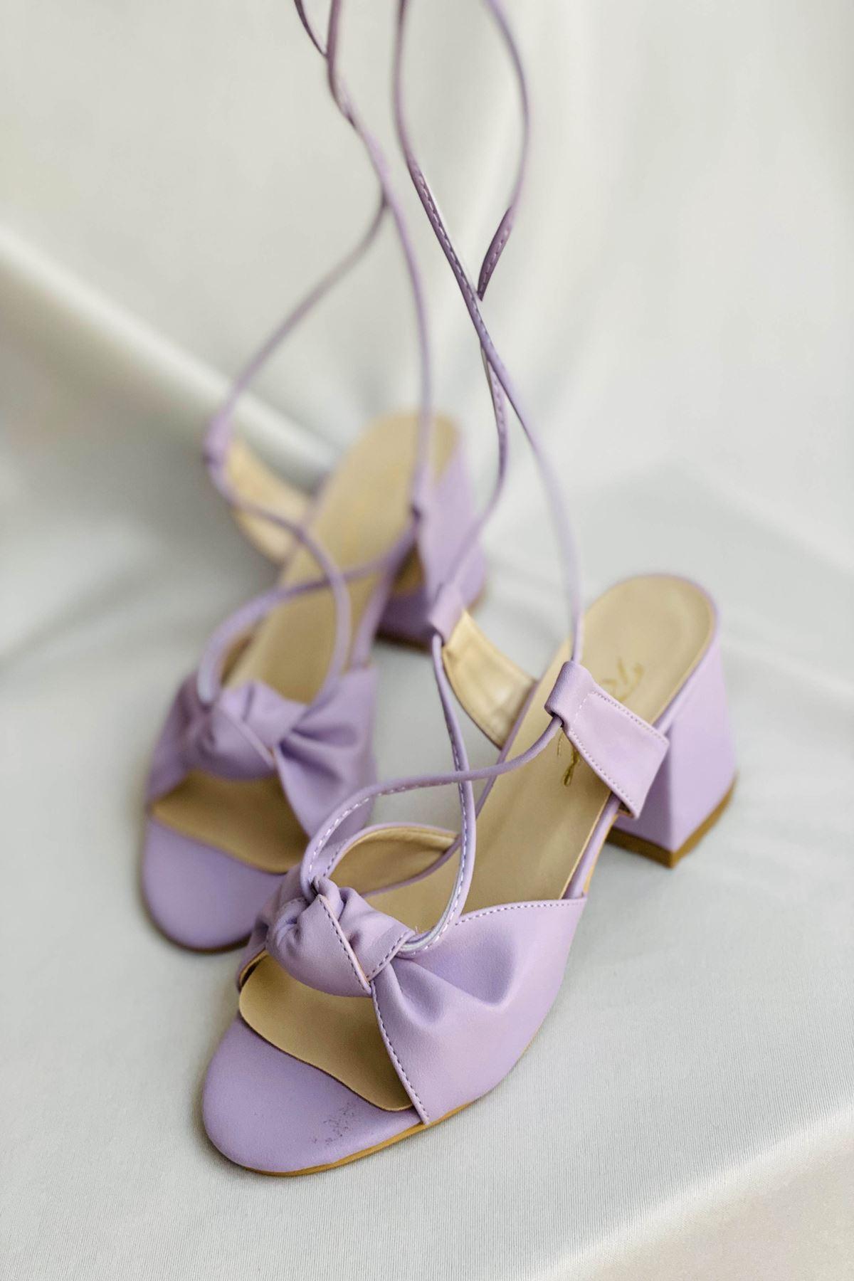 Y551 Lila Deri Topuklu Ayakkabı