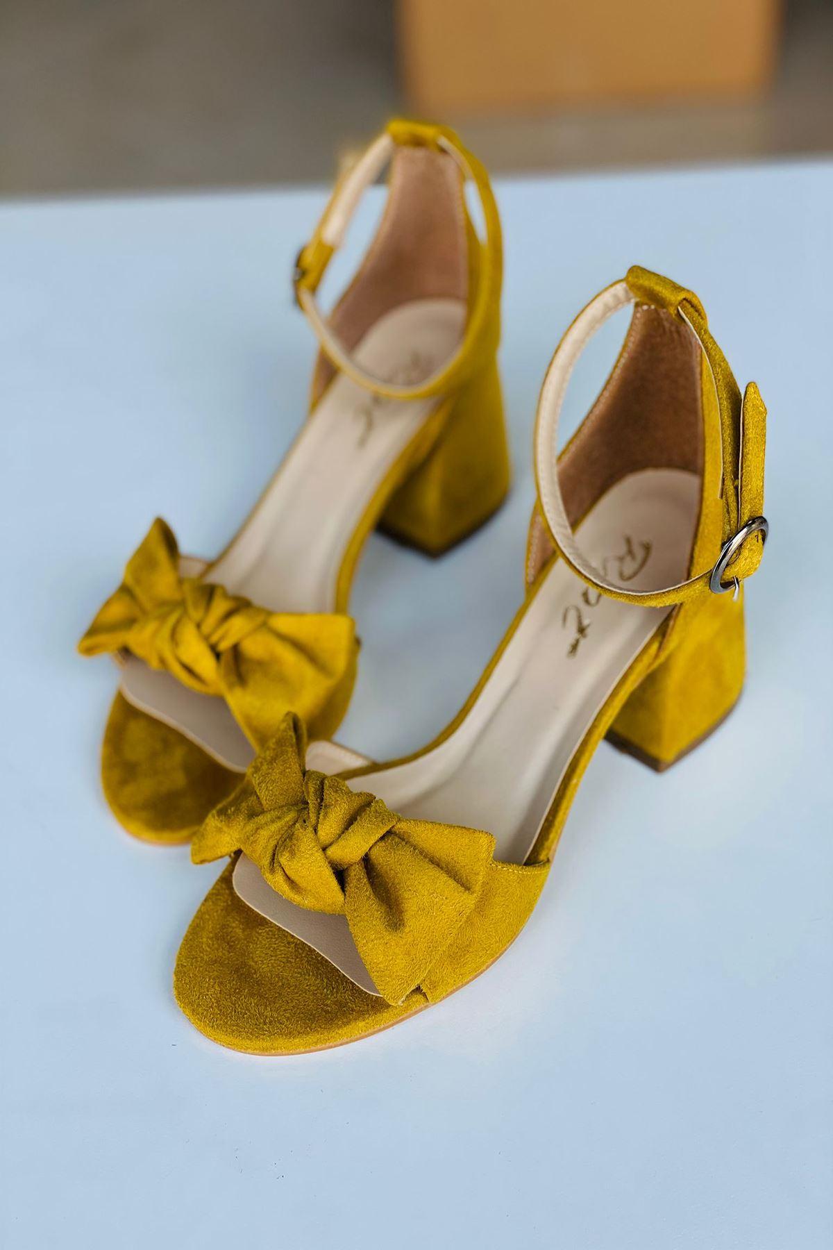 Y553 Hardal Süet Topuklu Ayakkabı