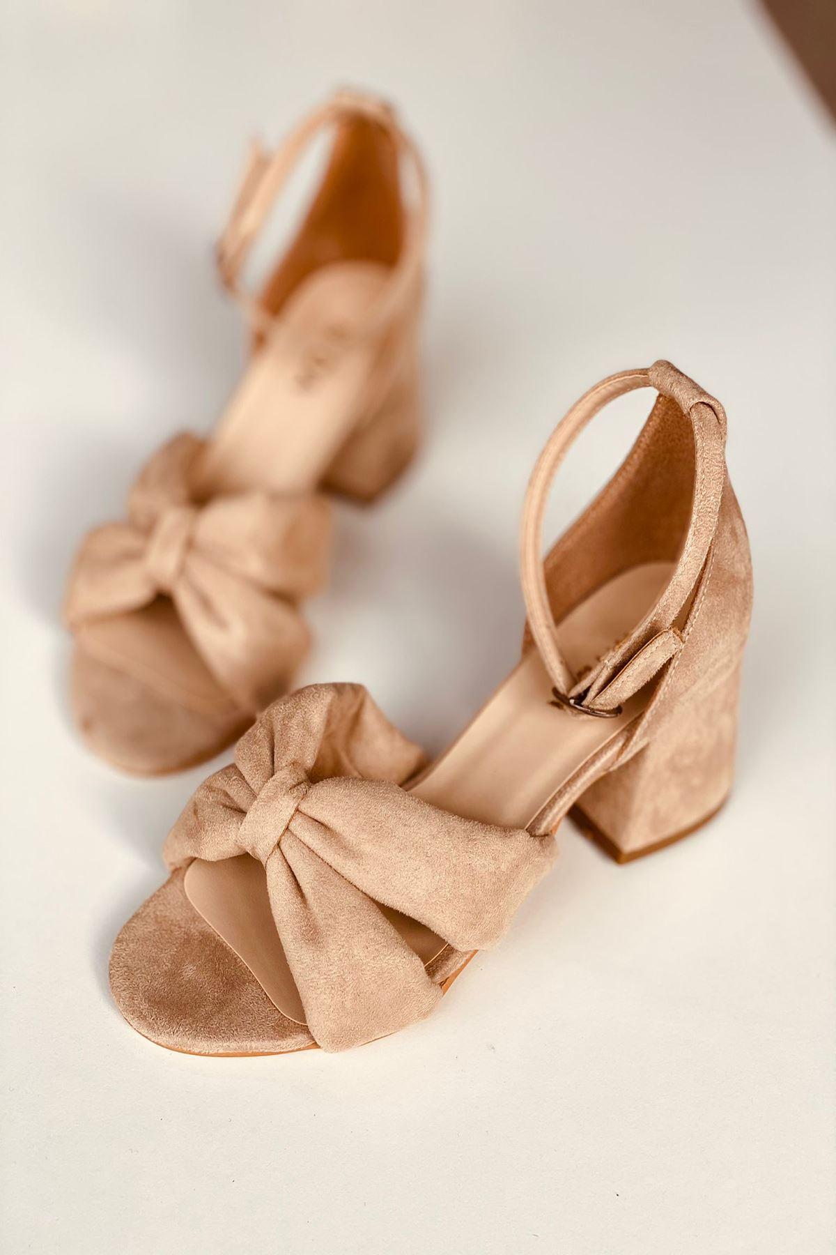 Y554 Ten Süet Topuklu Ayakkabı