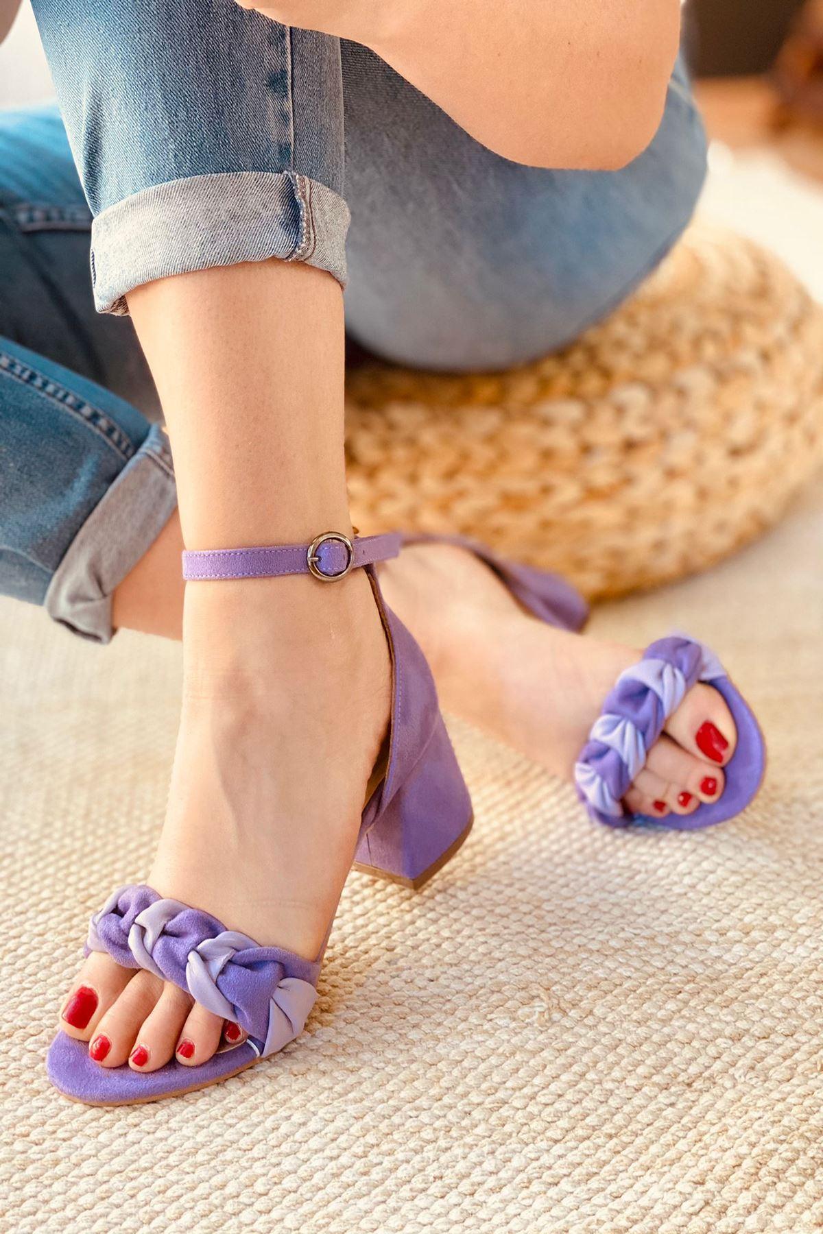 Y555 Lila Deri Topuklu Ayakkabı