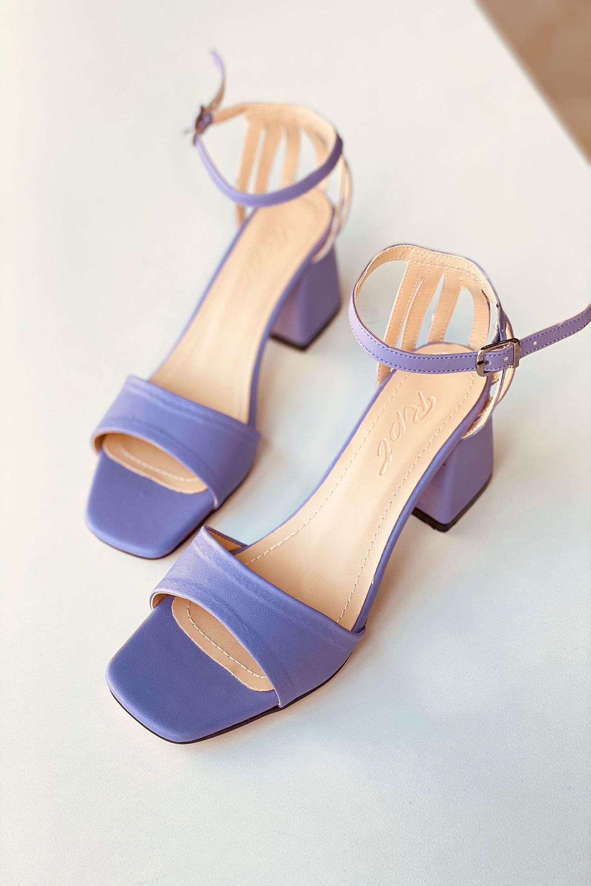 Y901 Lila Deri Topuklu Ayakkabı