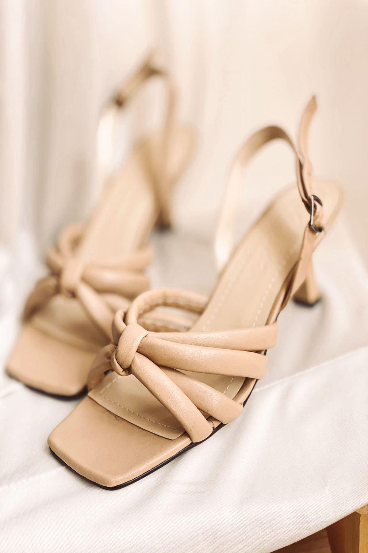 Y923 Ten Deri Topuklu Ayakkabı