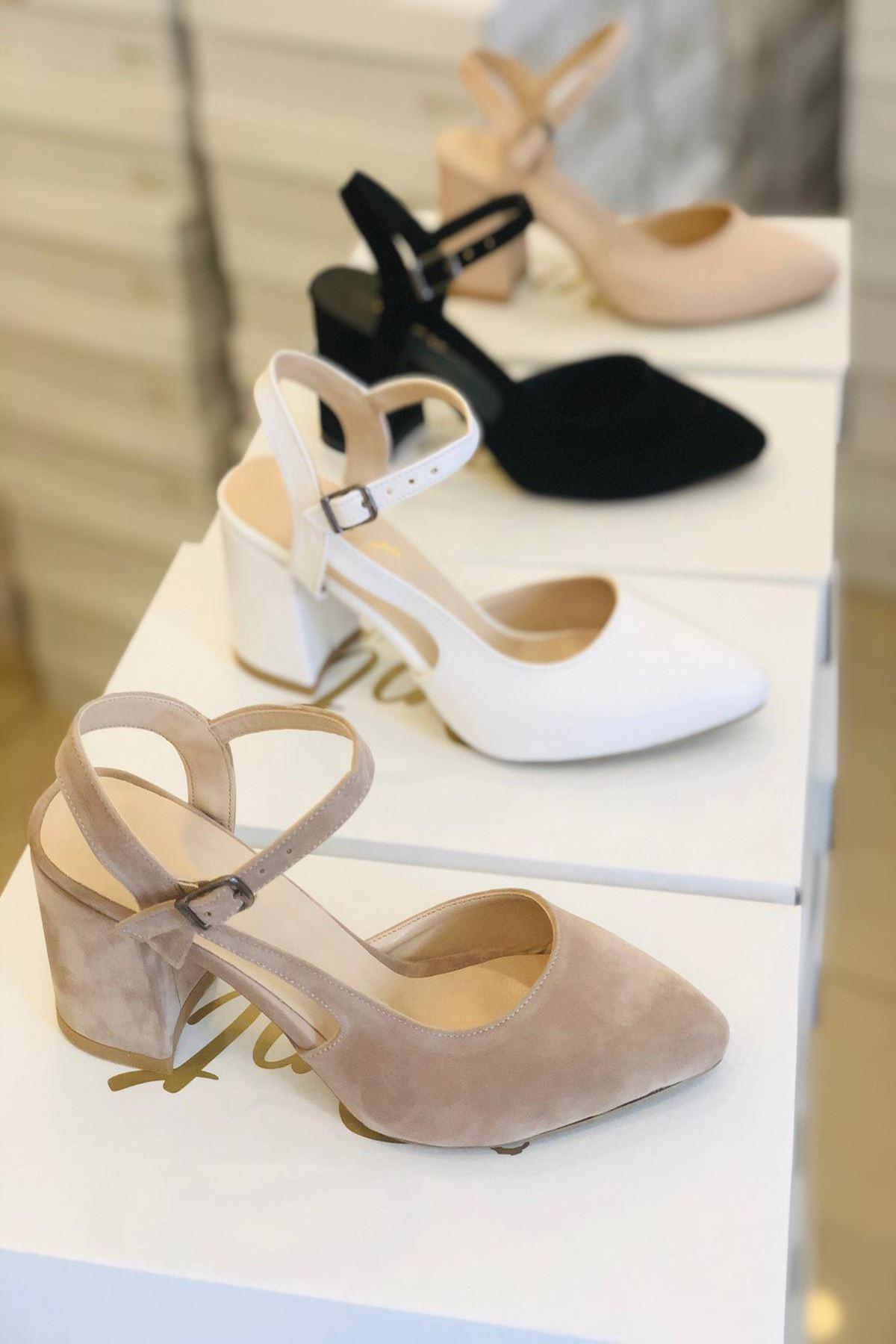 Y104 Ten Süet Topuklu Ayakkabı
