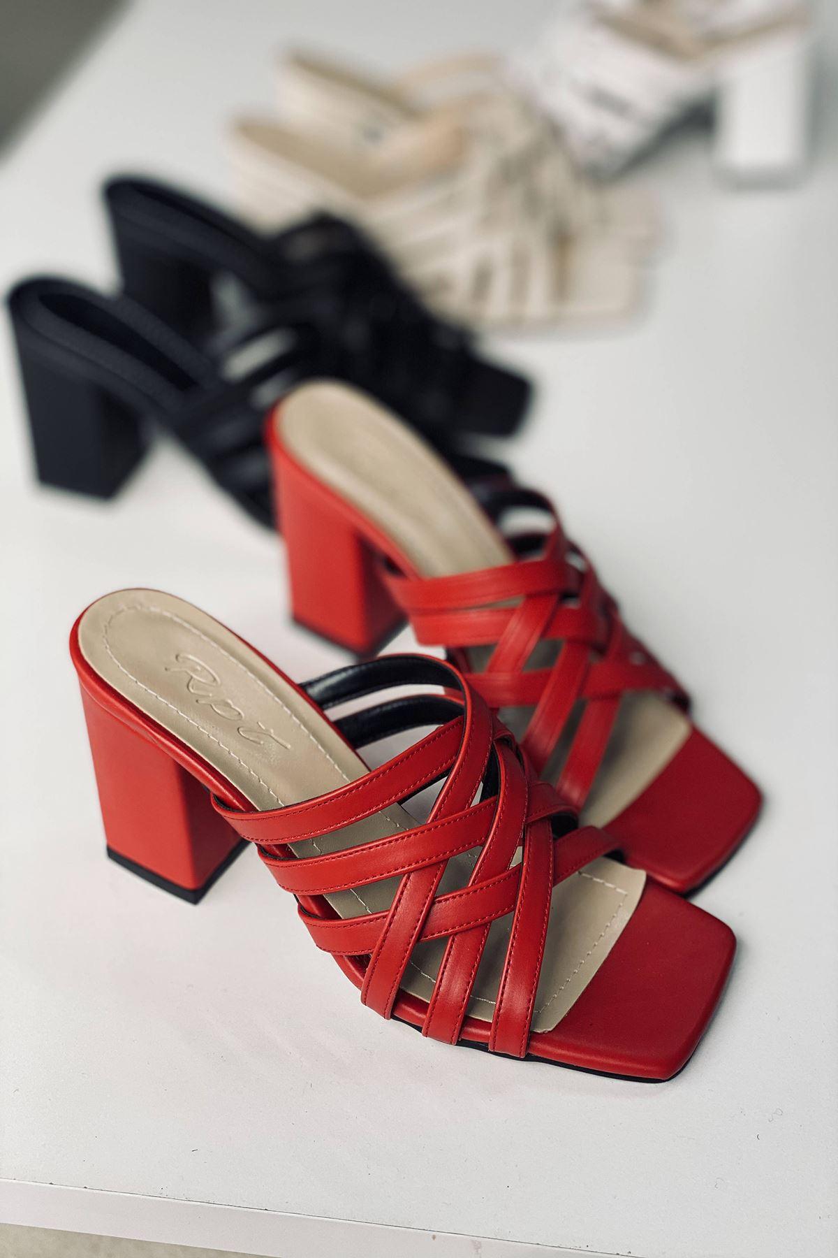 Y926 Kırmızı Deri Topuklu Ayakkabı