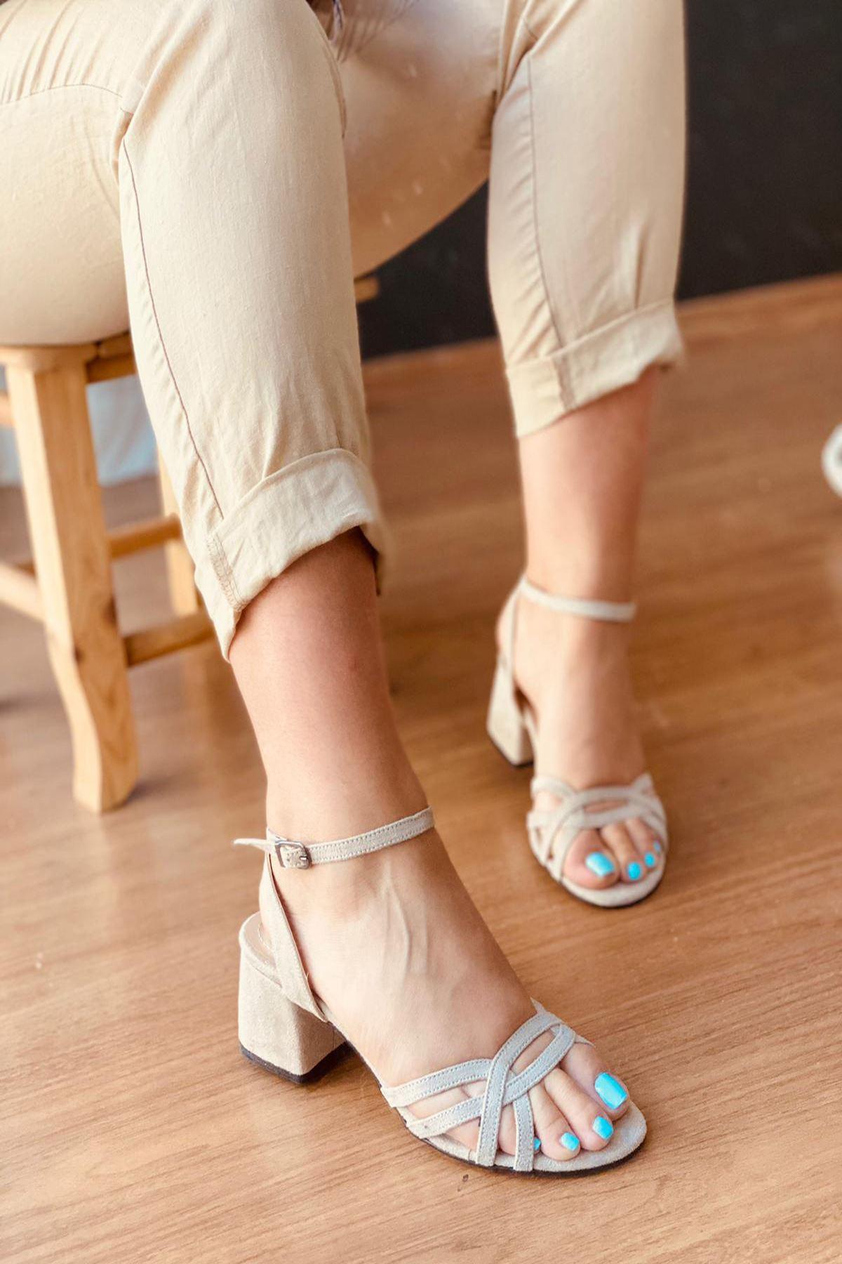 Y960 Ten Süet Topuklu Ayakkabı