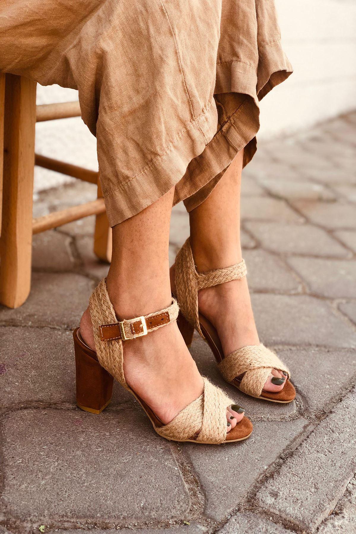 YHT Taba Hasır Topuklu Ayakkabı