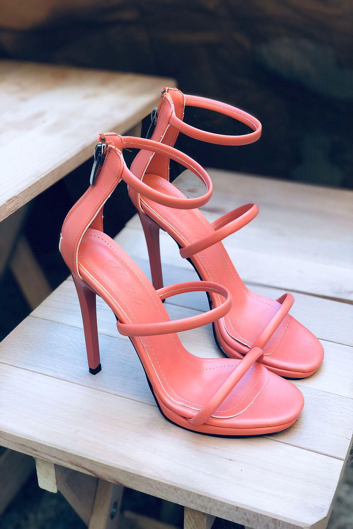 YLOVE03 Somon Deri Topuklu Ayakkabı