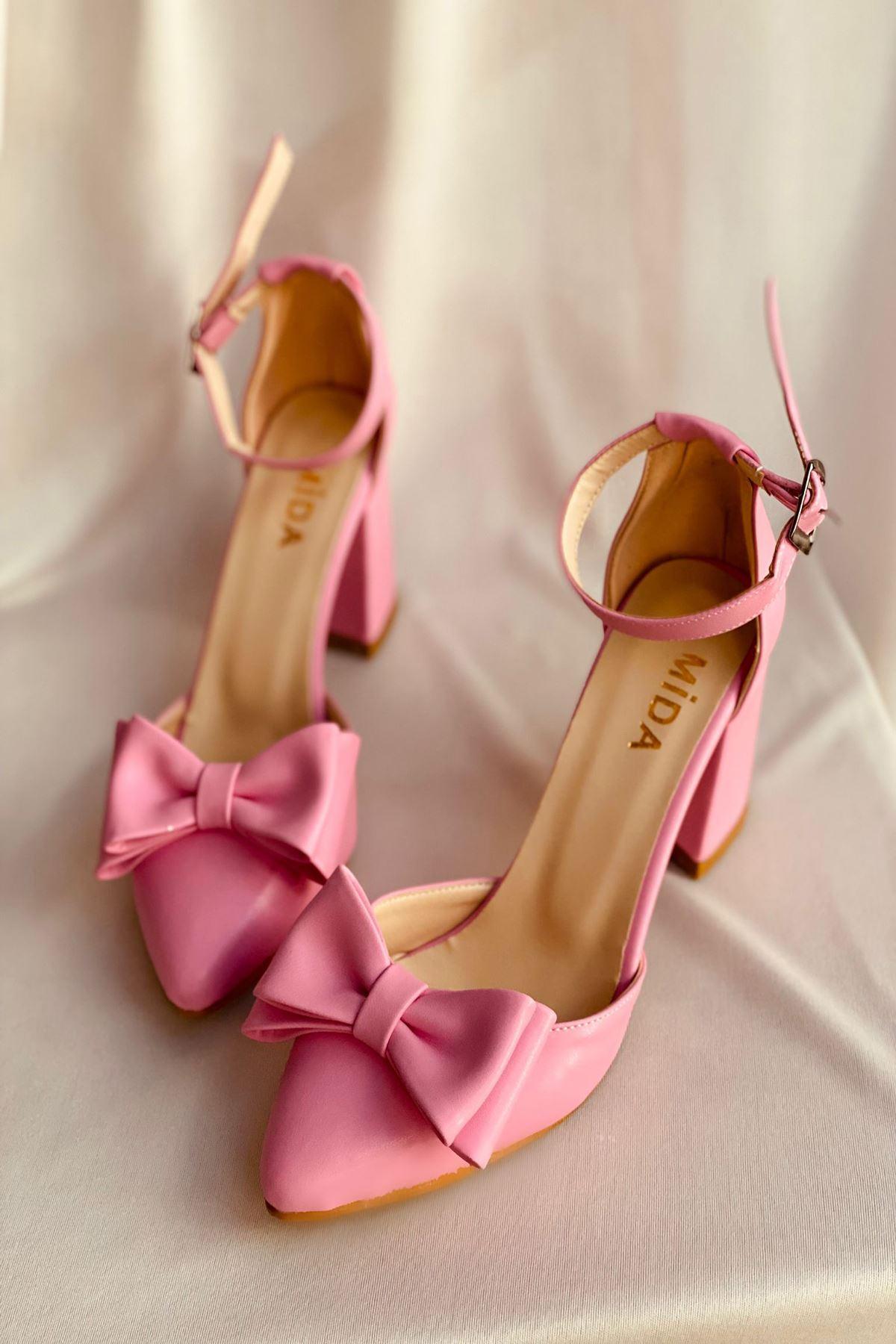 Y107 Şeker Pembe Deri Topuklu Ayakkabı