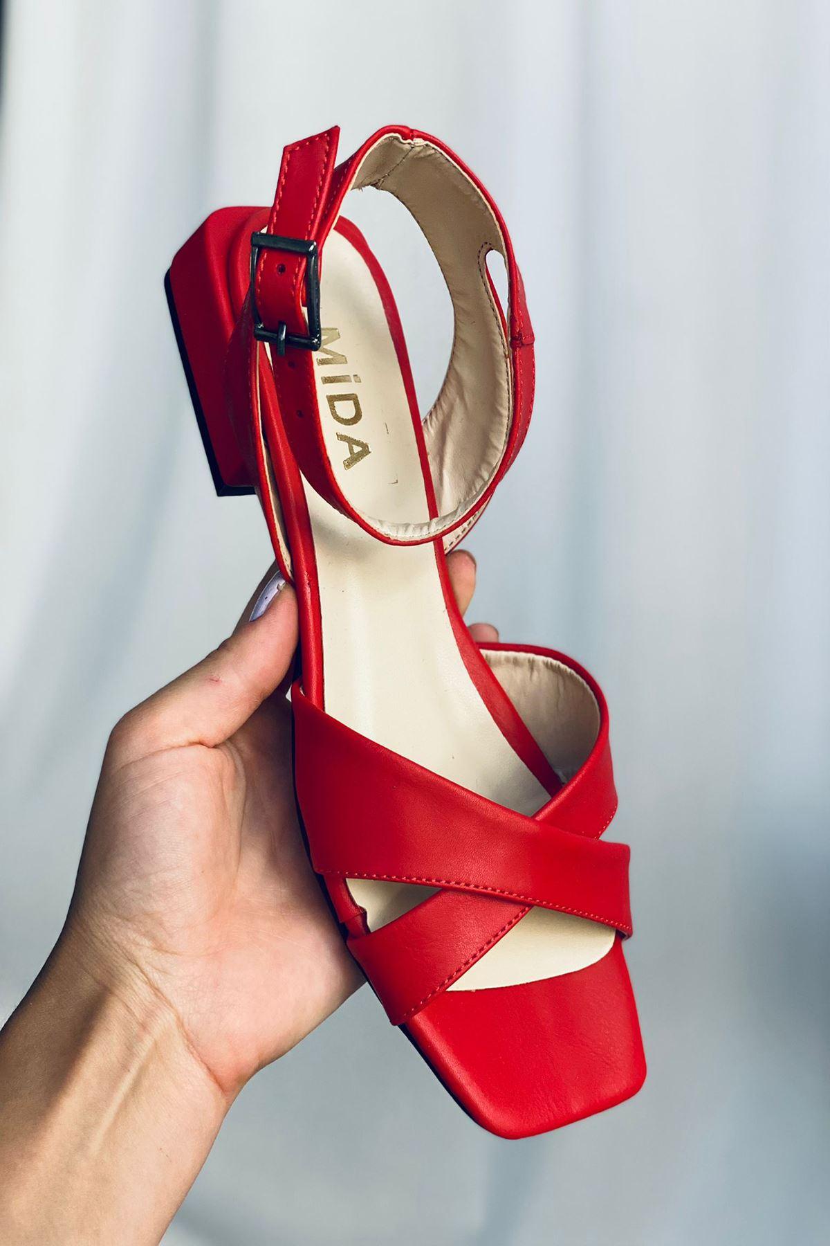 Y400 Kırmızı Deri Sandalet