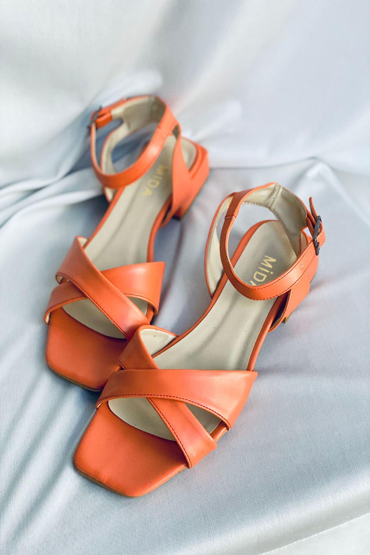 Y400 Turuncu Deri Sandalet