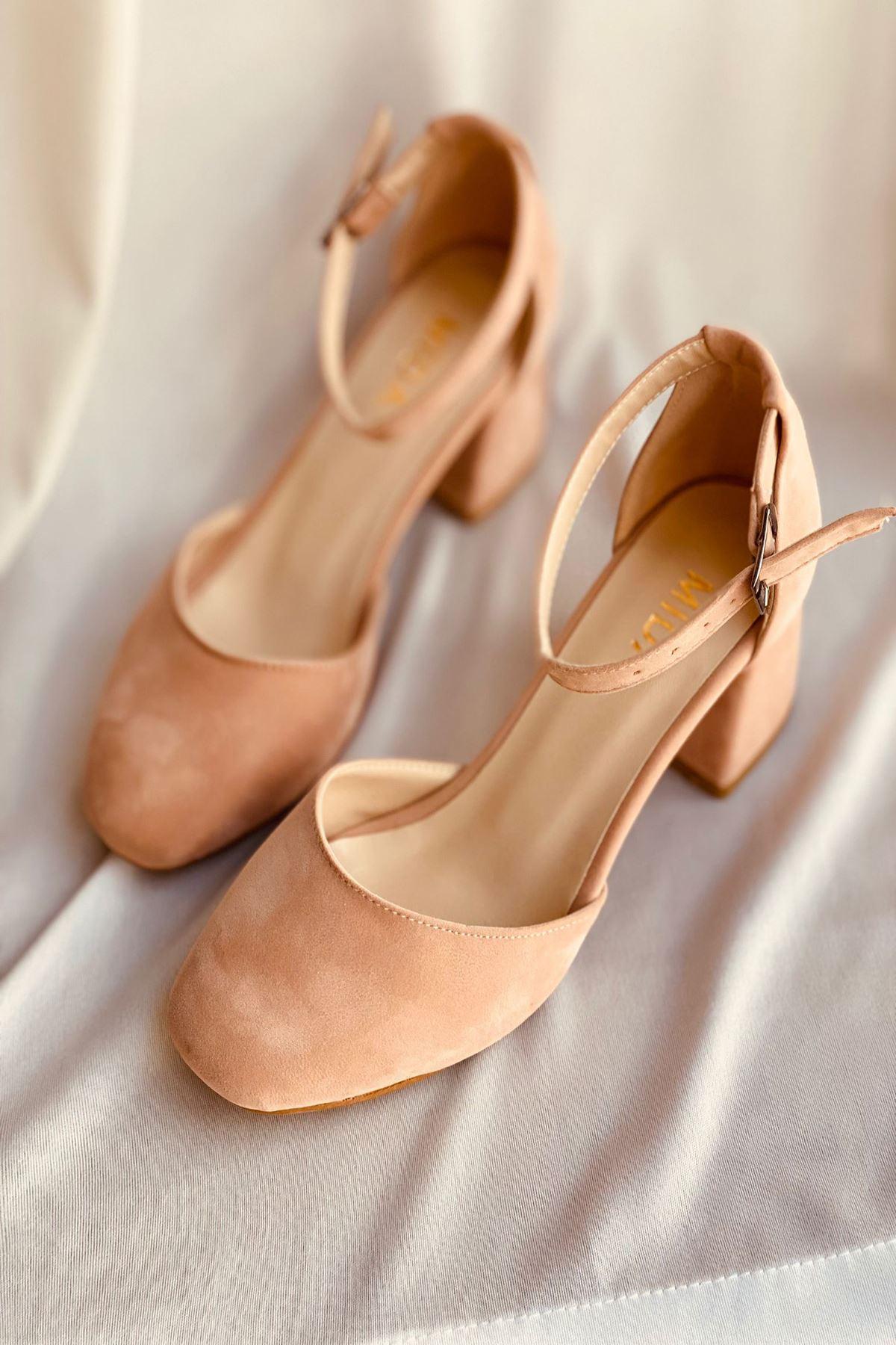 Y192 Pudra Süet Topuklu Ayakkabı