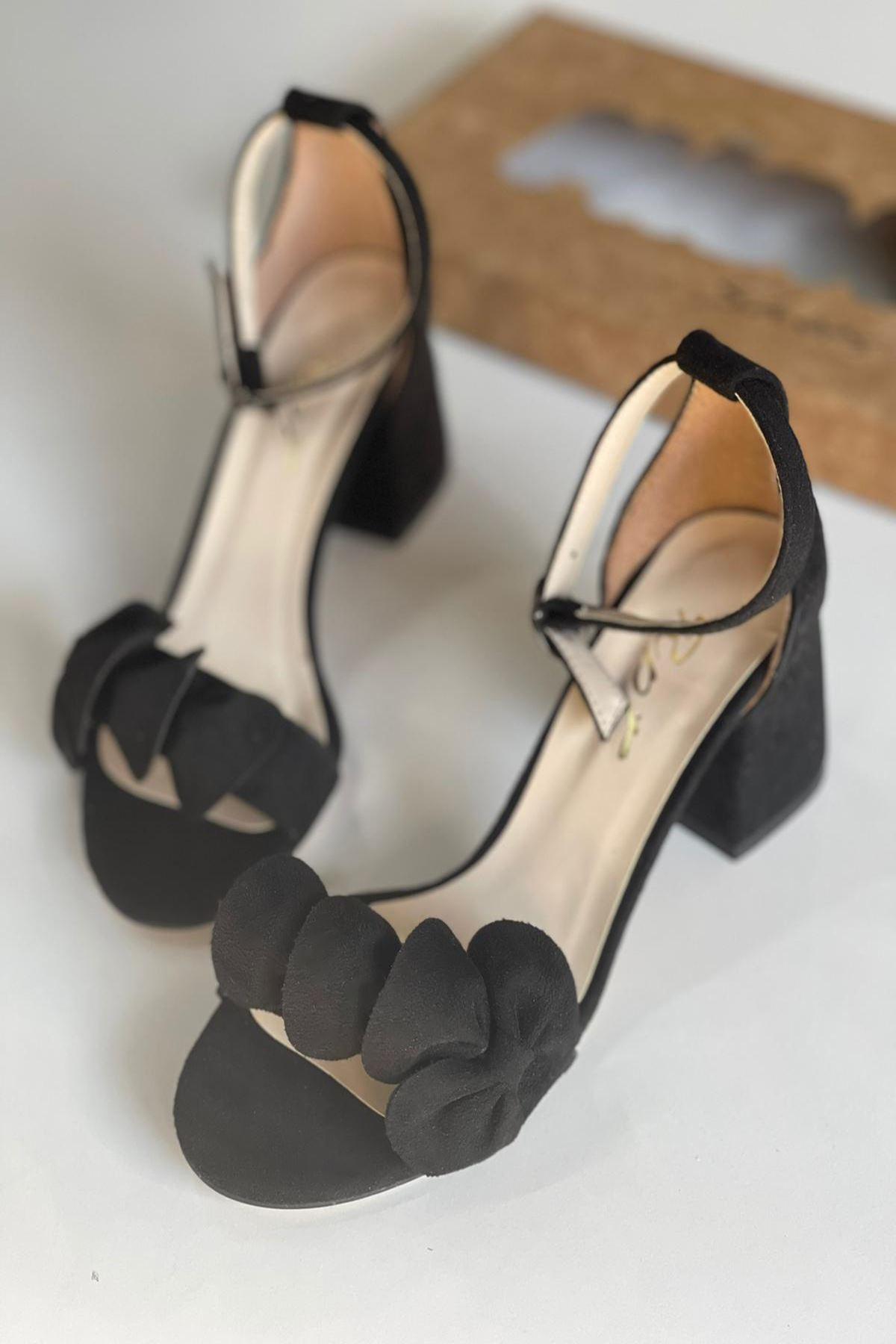 YYNDCC Siyah Süet Topuklu Ayakkabı