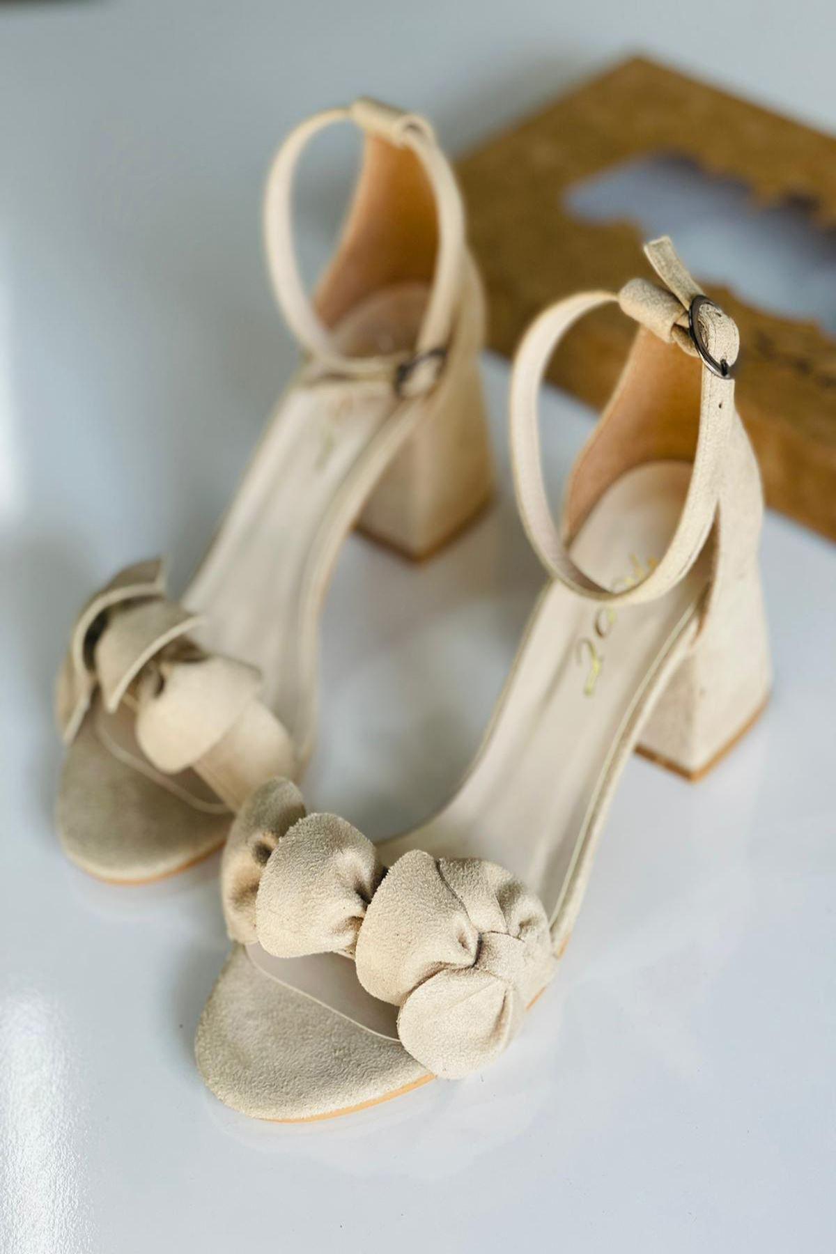YYNDCC Ten Süet Topuklu Ayakkabı