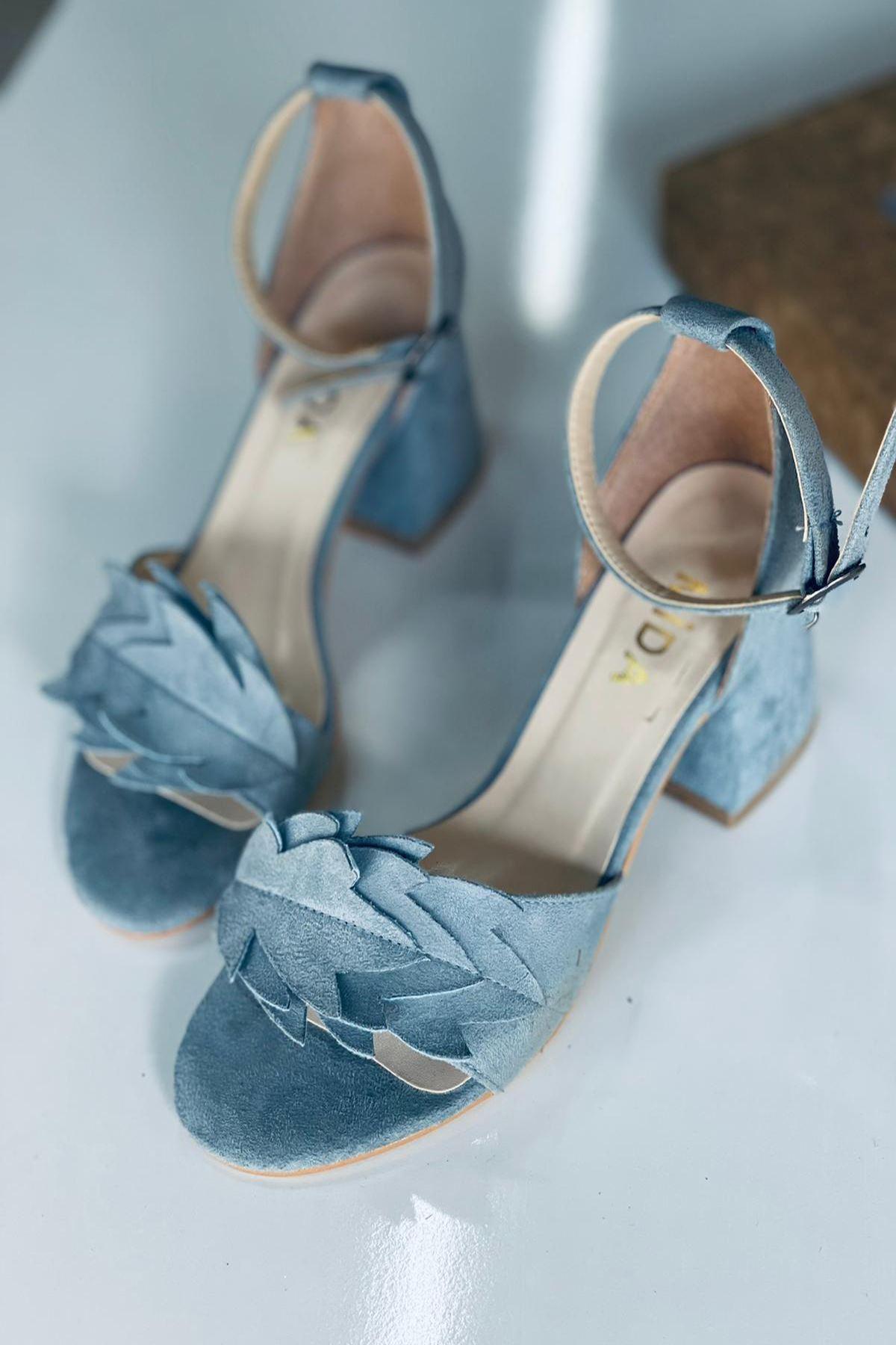 Y506 Bebe Mavi Süet Topuklu Ayakkabı