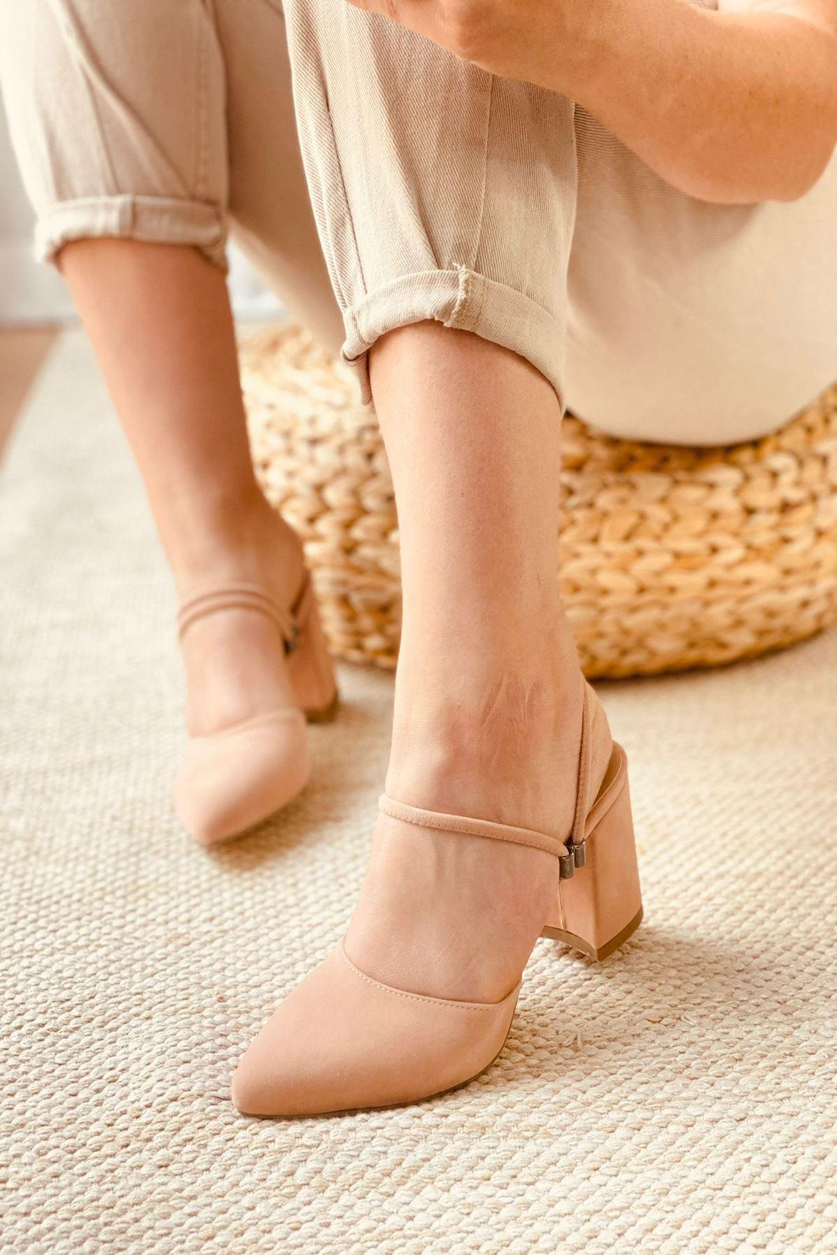 Y119 Pudra Süet Topuklu Ayakkabı
