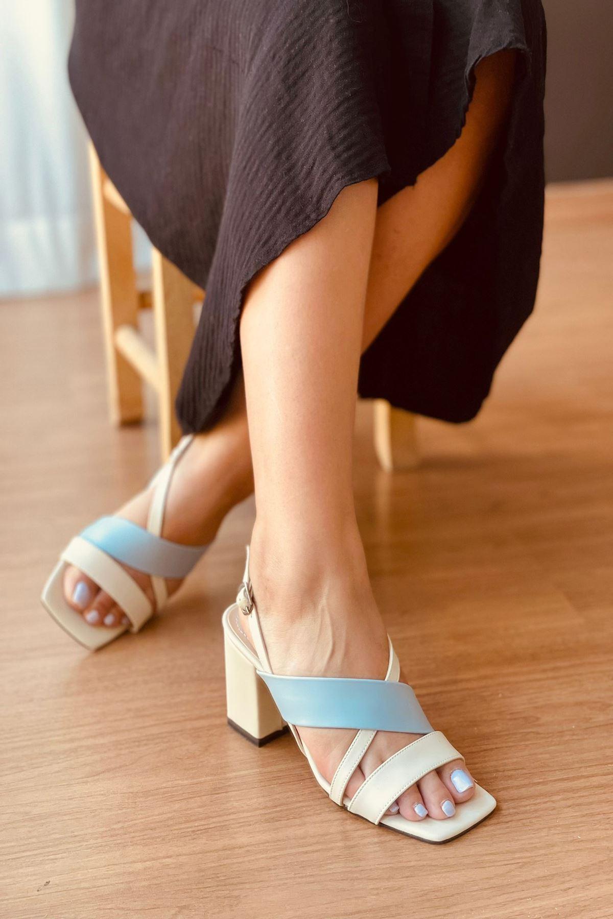 Y925 Ten Deri Topuklu Ayakkabı