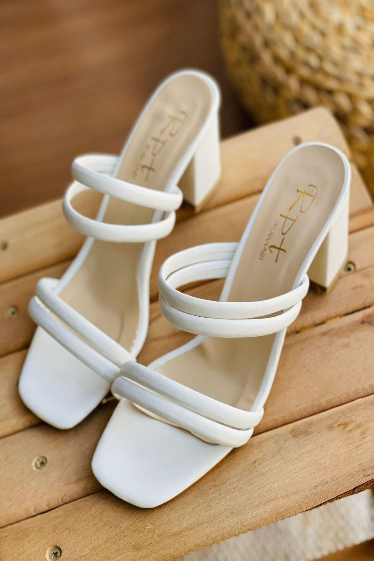 YDBT Beyaz Deri Topuklu Ayakkabı