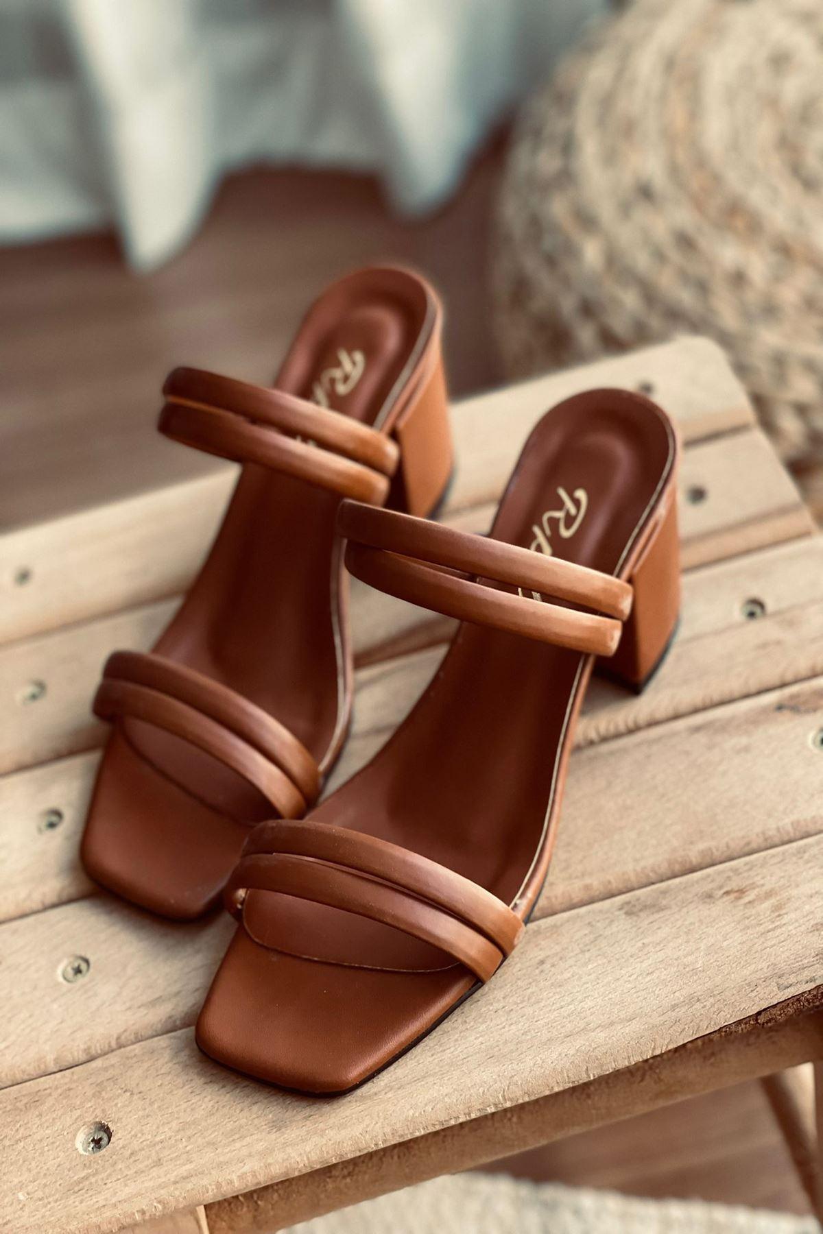 YDBT Taba Deri Topuklu Ayakkabı