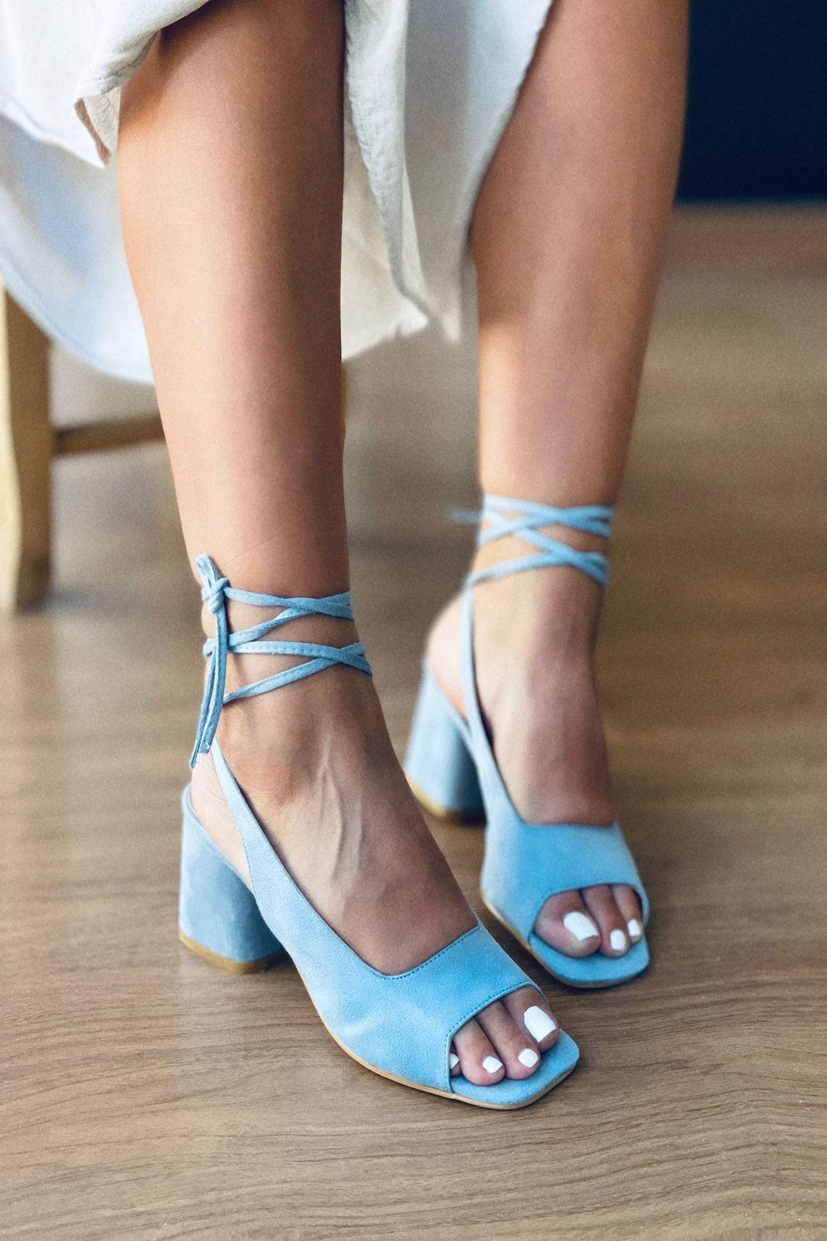 Y710 Bebe Mavi Süet Topuklu Ayakkabı