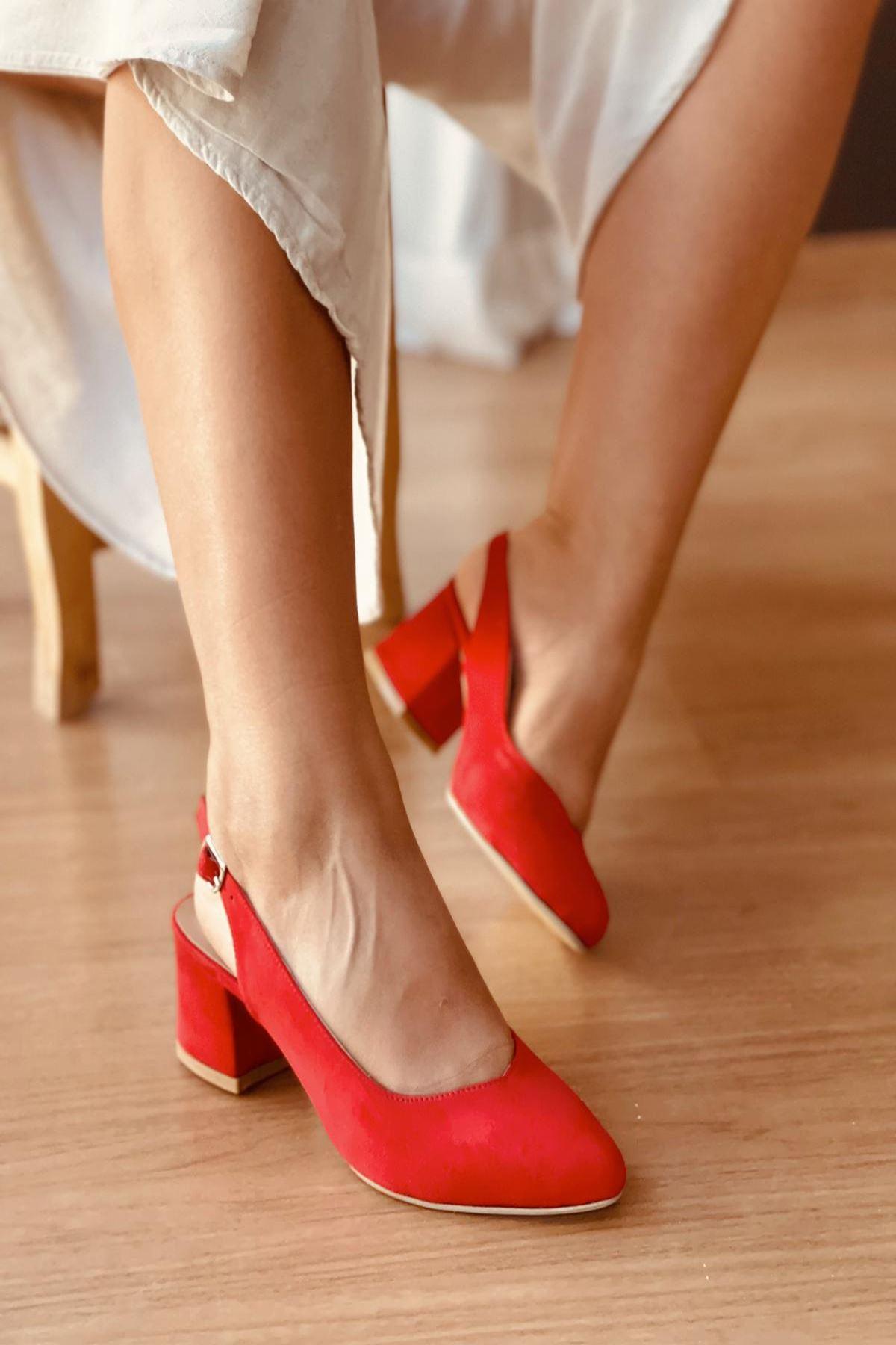 Y101Kırmızı Süet Topuklu Ayakkabı
