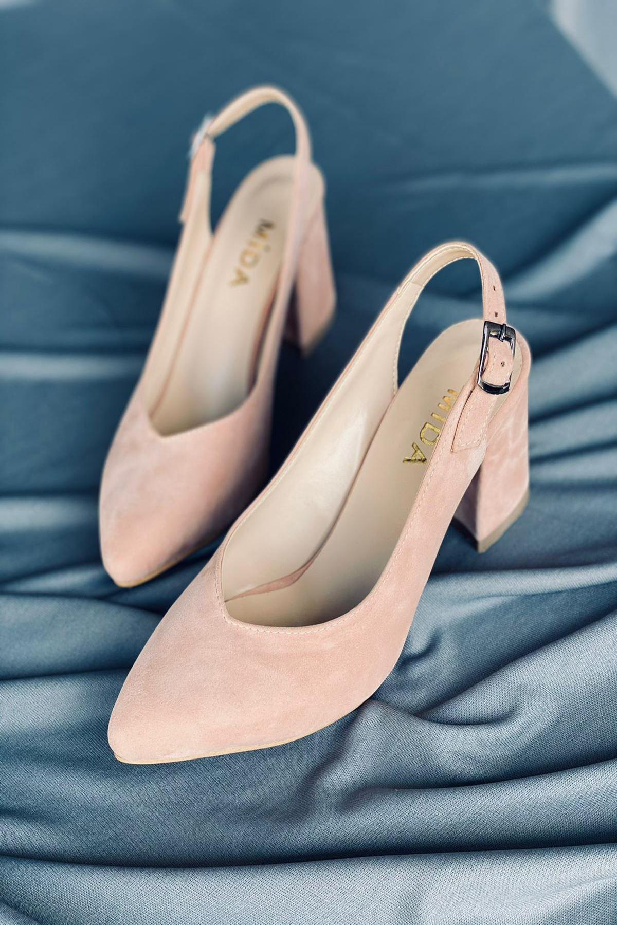 Y101 Pudra Süet Topuklu Ayakkabı