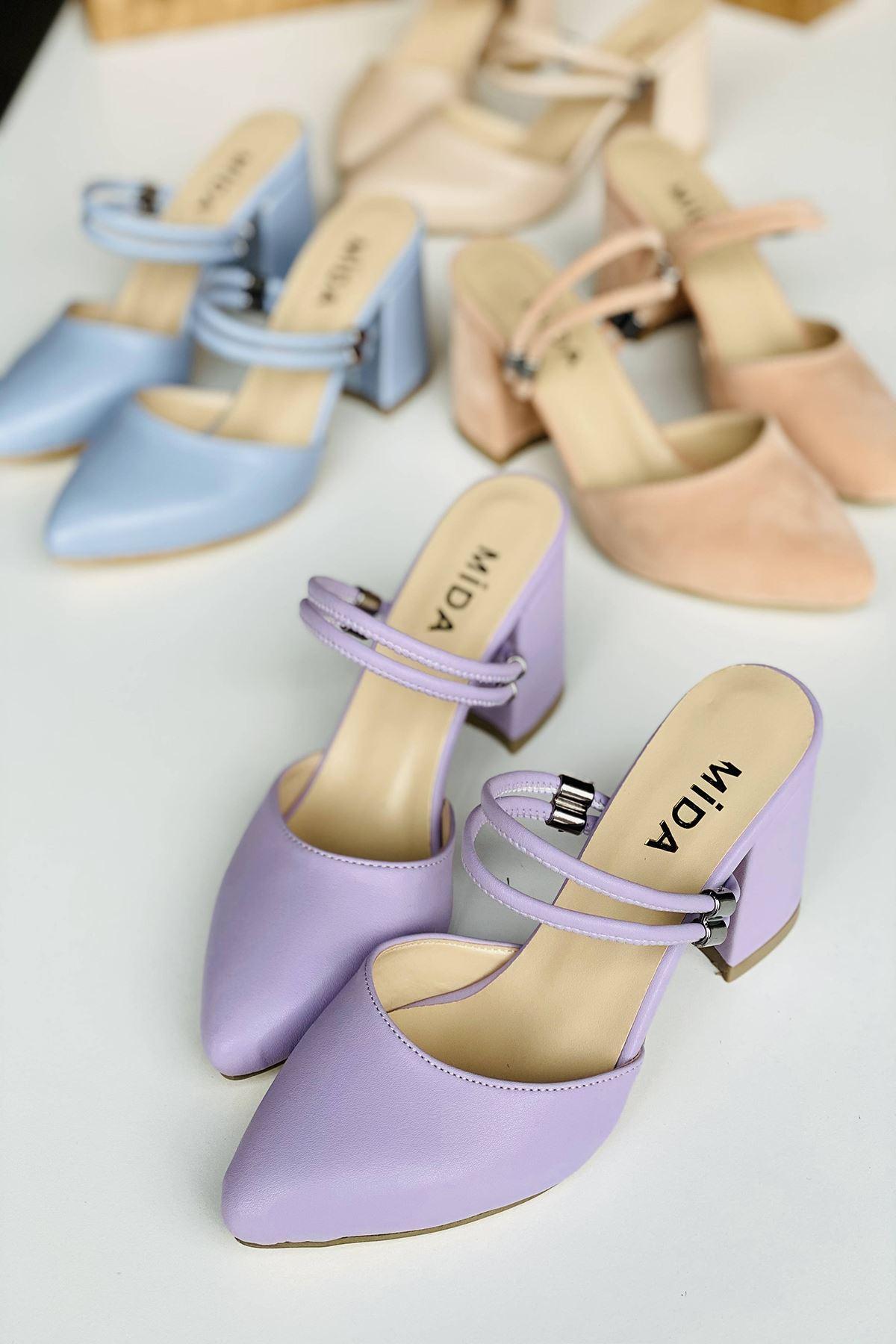 Y119 Lila Deri Topuklu Ayakkabı