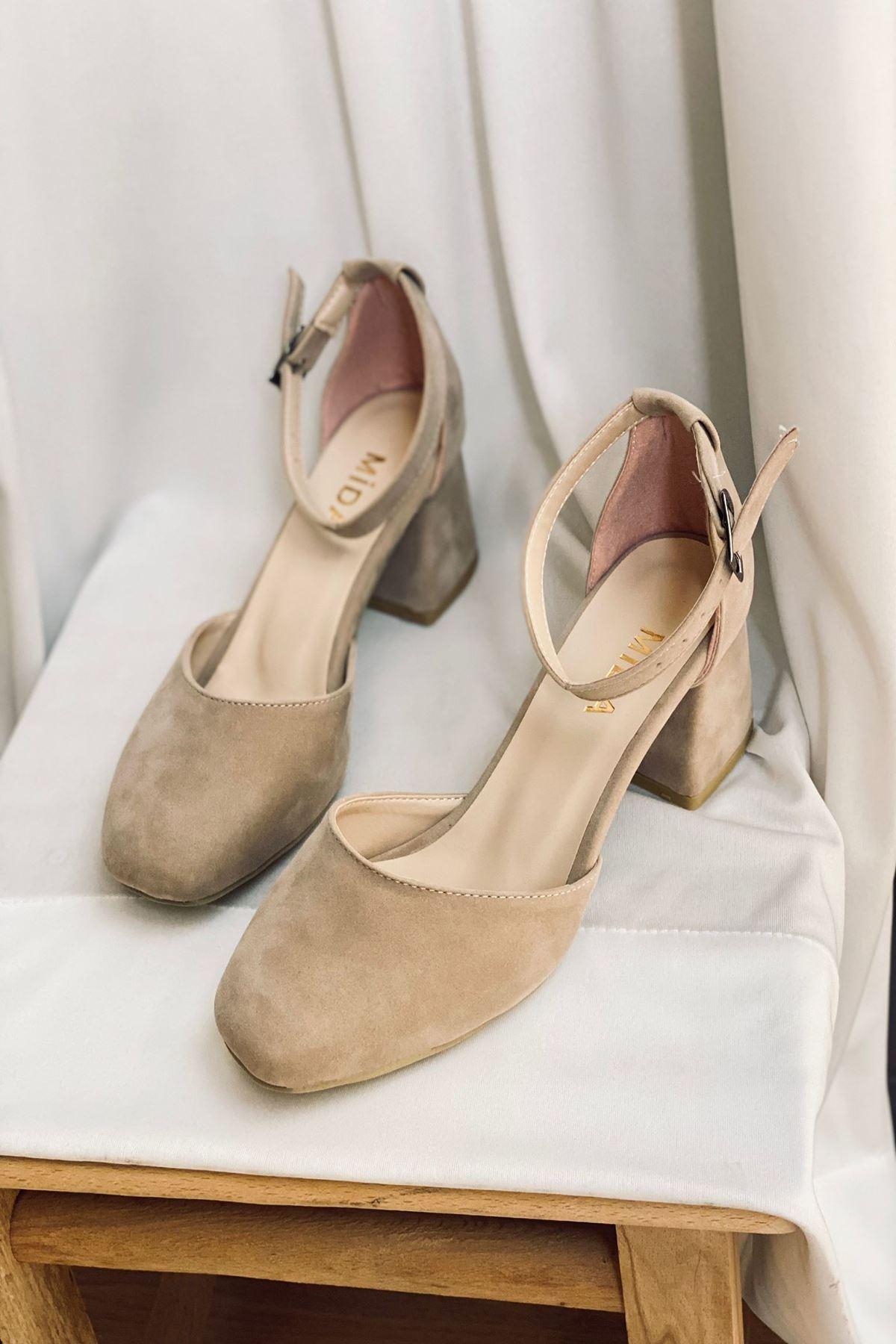 Y202 Ten Süet Topuklu Ayakkabı