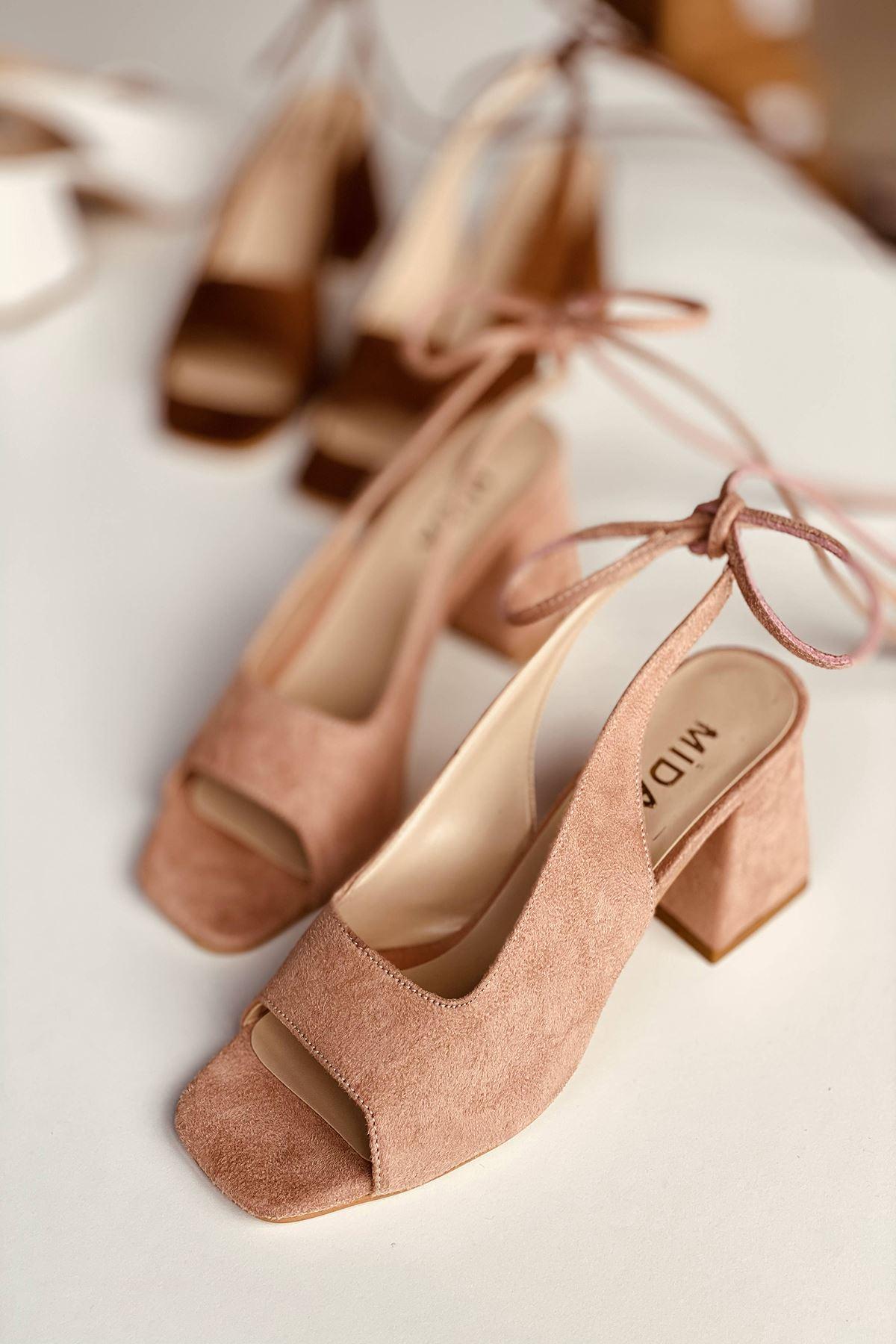 Y710 Pudra Süet Topuklu Ayakkabı
