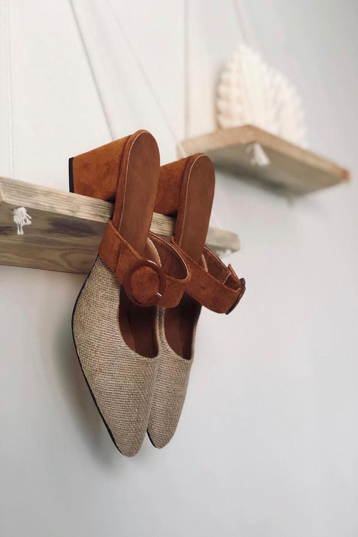 Y800 Taba Topuklu Ayakkabı