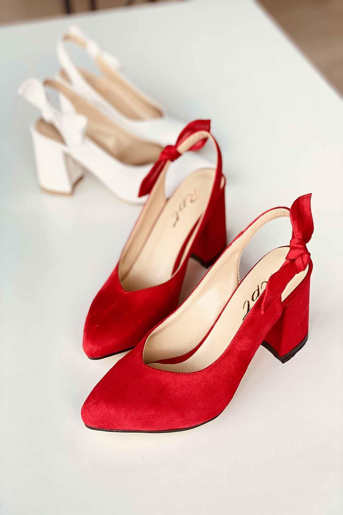 Y109 Kırmızı Süet Topuklu Ayakkabı