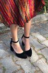 Y102 Siyah Süet Topuklu Ayakkabı