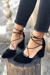 Y103 Siyah Süet Topuklu Ayakkabı