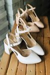 Y104 Beyaz Deri Topuklu Ayakkabı